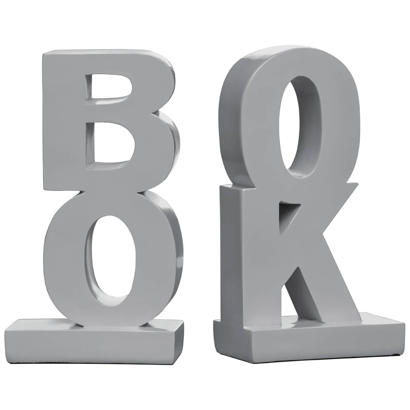 "Fifty Five South ""Book"" Bookends - Grey High Gloss (Set of 2)"