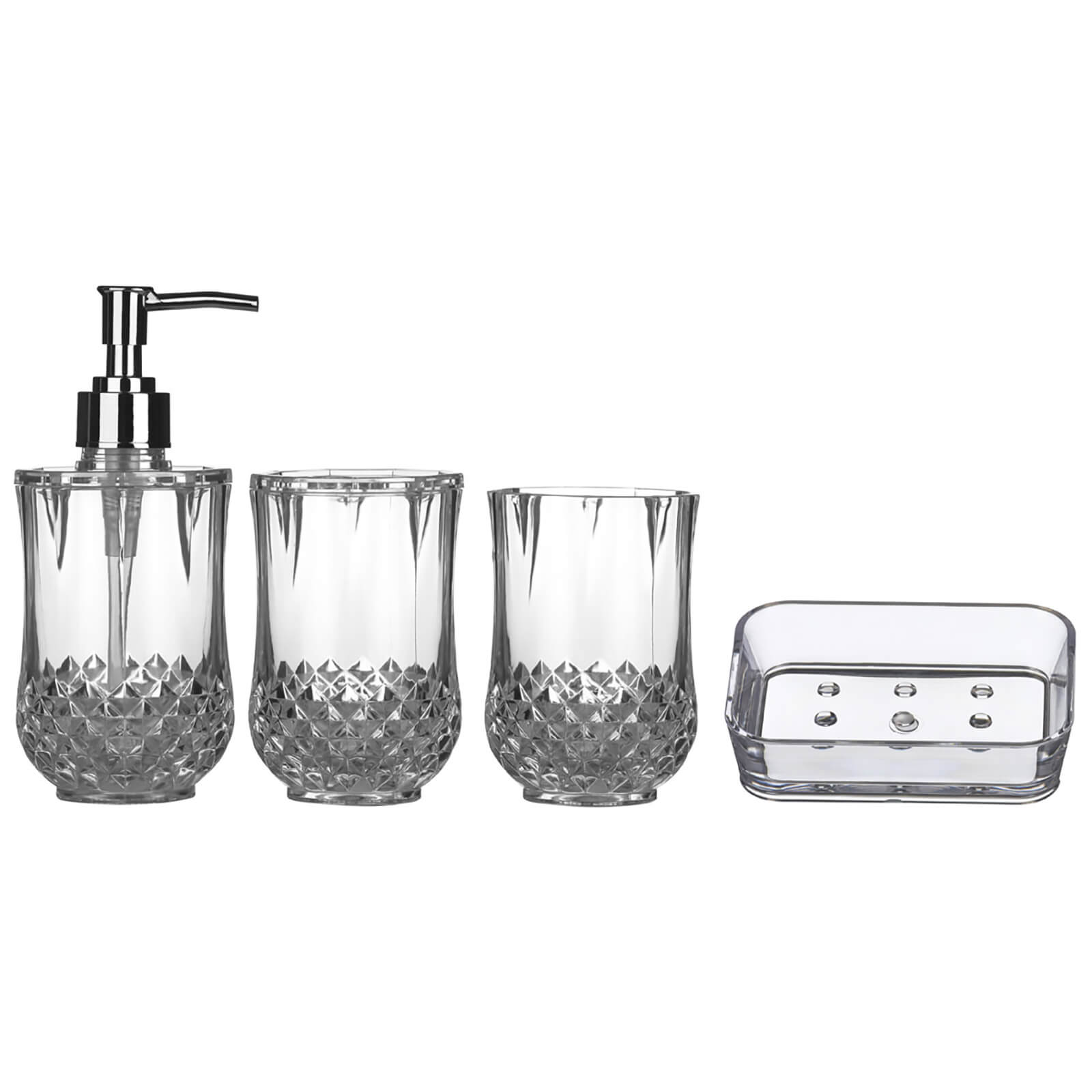 Fifty Five South Cristallo Bathroom Set - Clear (Set of 4)