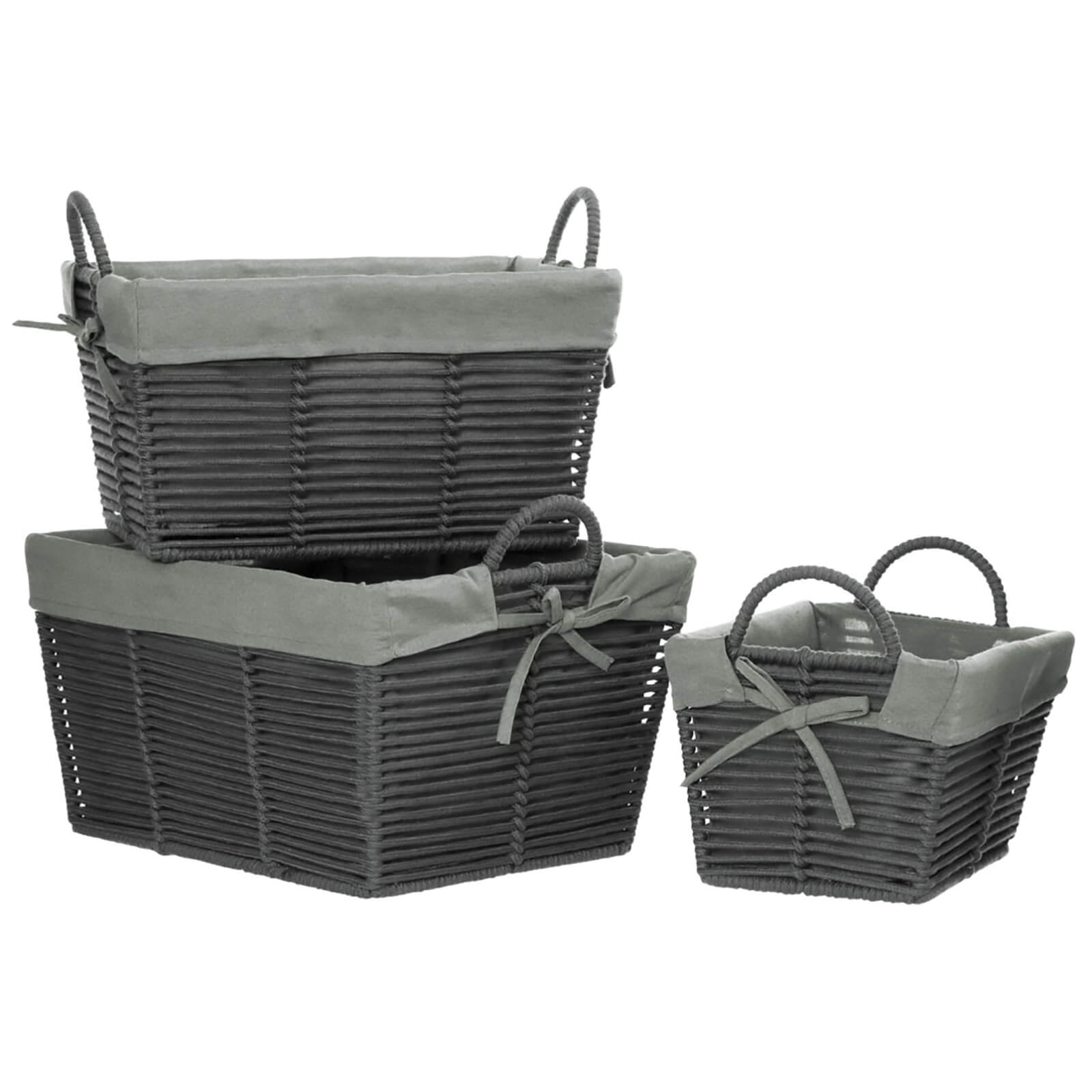 Fifty Five South Lida Rope Metal Wire Storage Baskets - Grey (Set of 3)