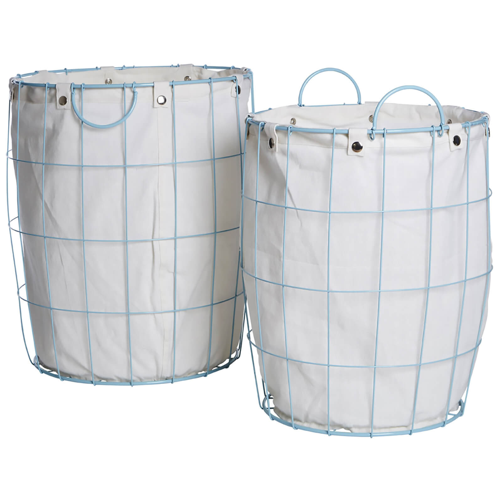 Fifty Five South Round Wire Laundry Baskets - Blue/Linen (Set of 2)