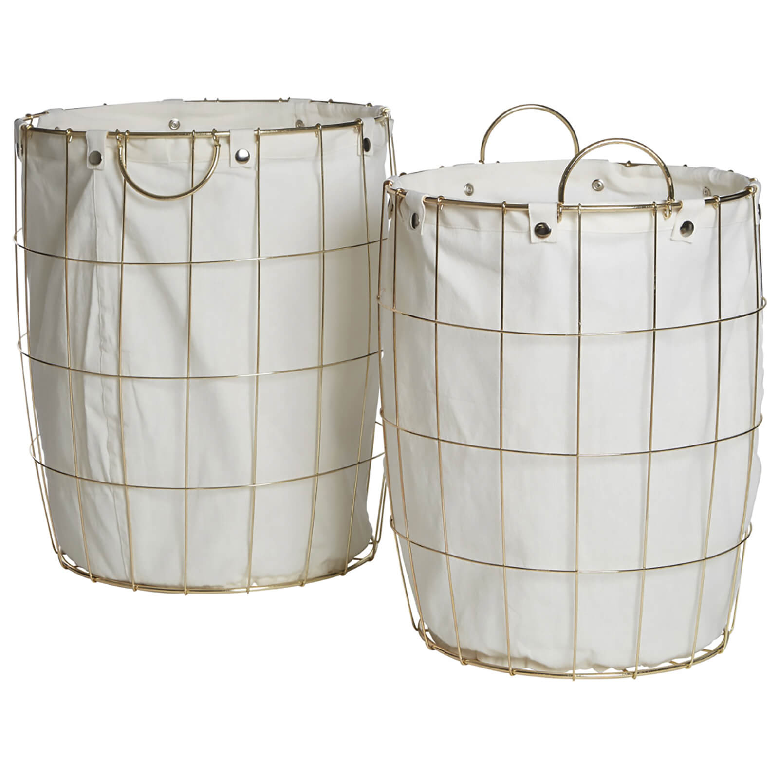 Fifty Five South Round Wire Laundry Baskets - Gold Plated/Linen (Set of 2)