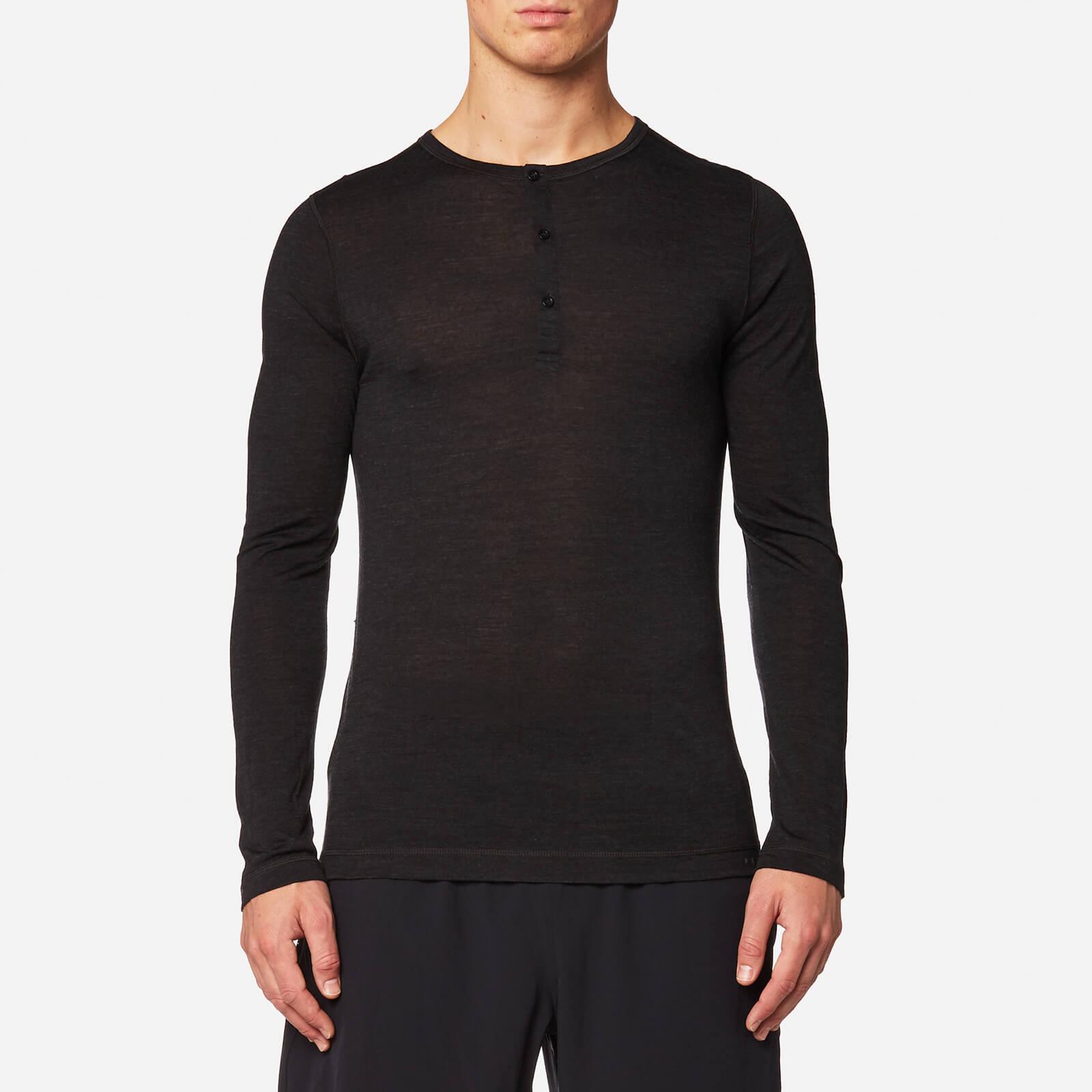 2858d1c7 FALKE Ergonomic Sport System Men's Long Sleeved Henley Silk-Wool Top -  Anthracite Mel - Free UK Delivery over £50