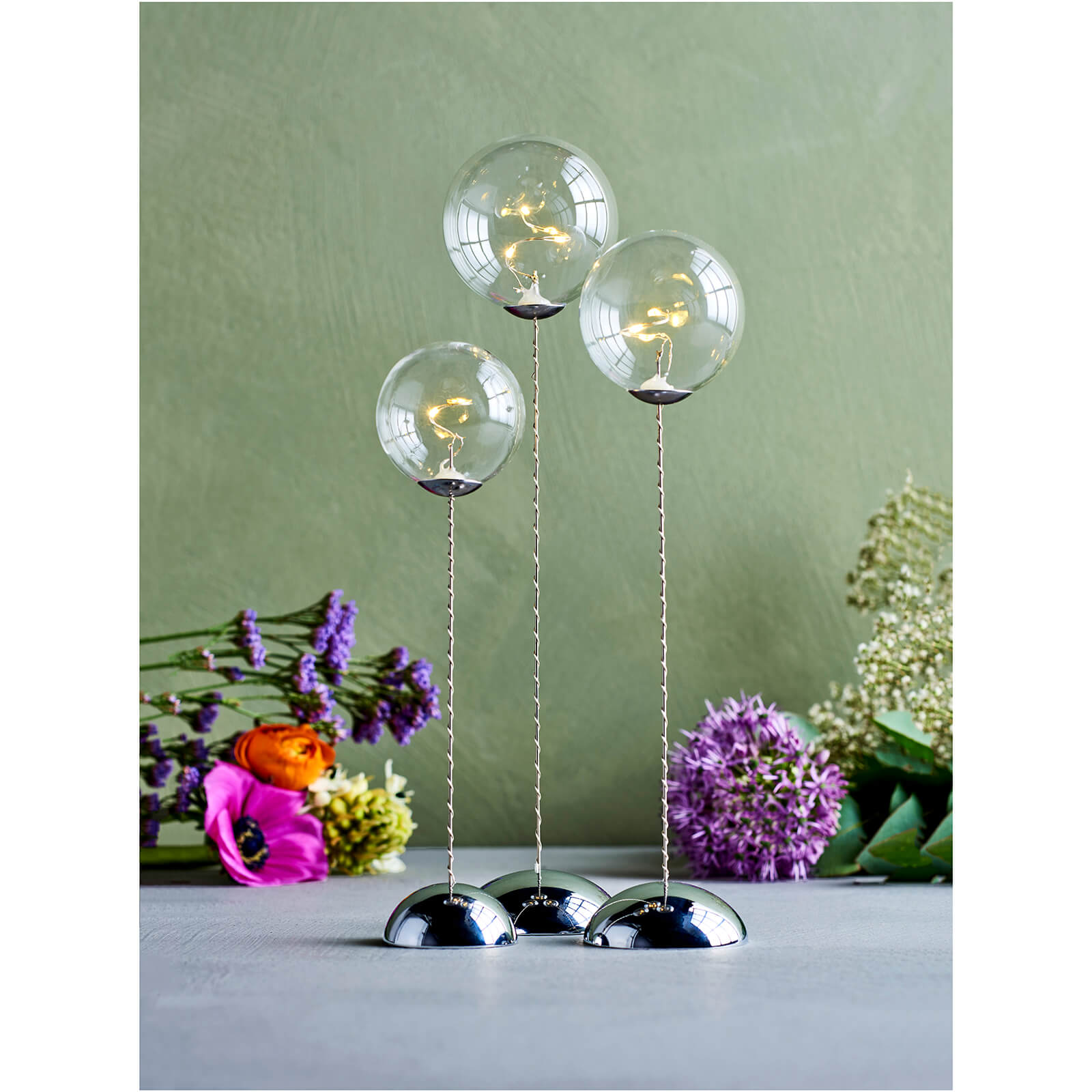 Sirius Pure Trio Glass Baubles with Timer - Clear