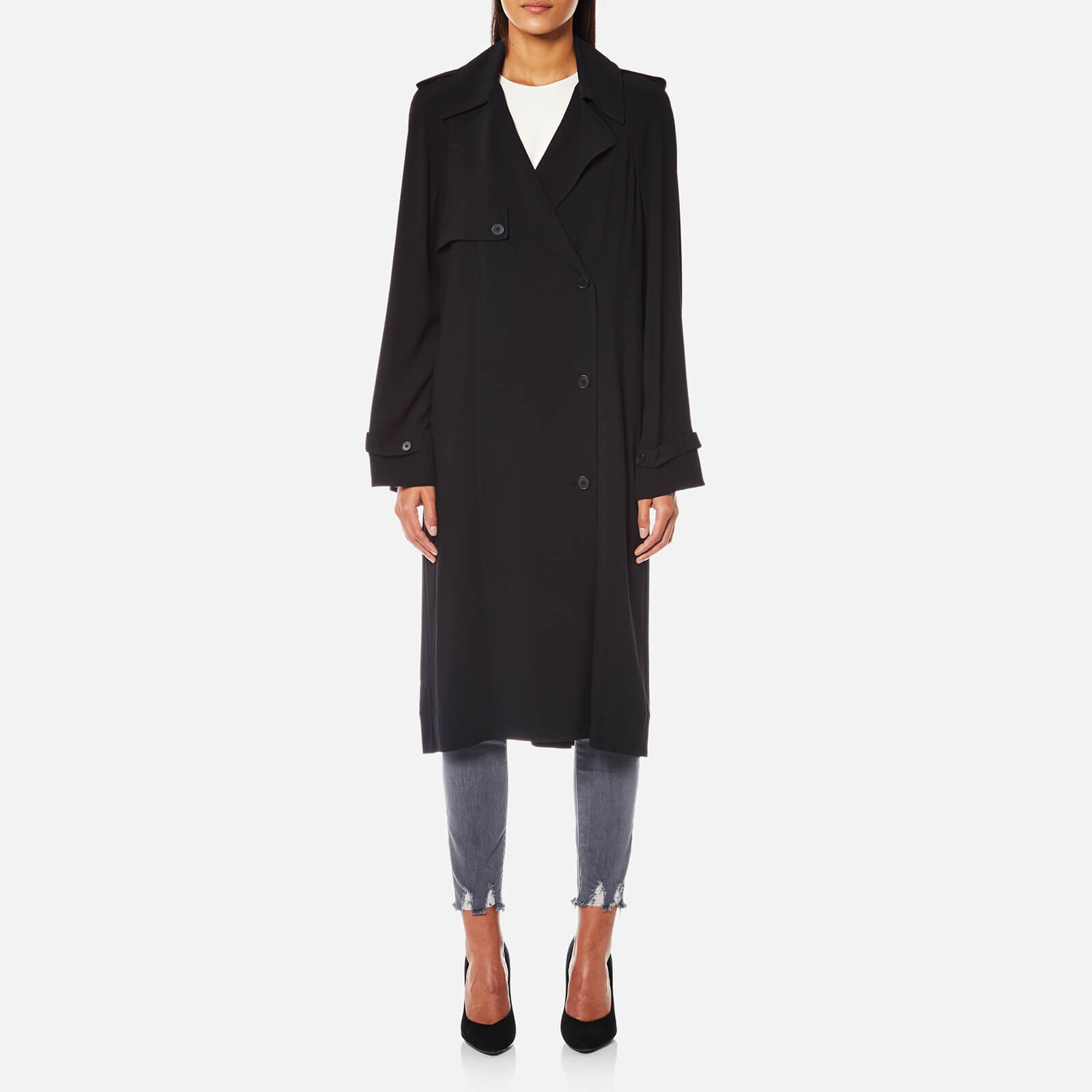 10ad1a5c6ffdd4 Helmut Lang Women s Trench Coat Dress with Satin Belt - Black - Free ...