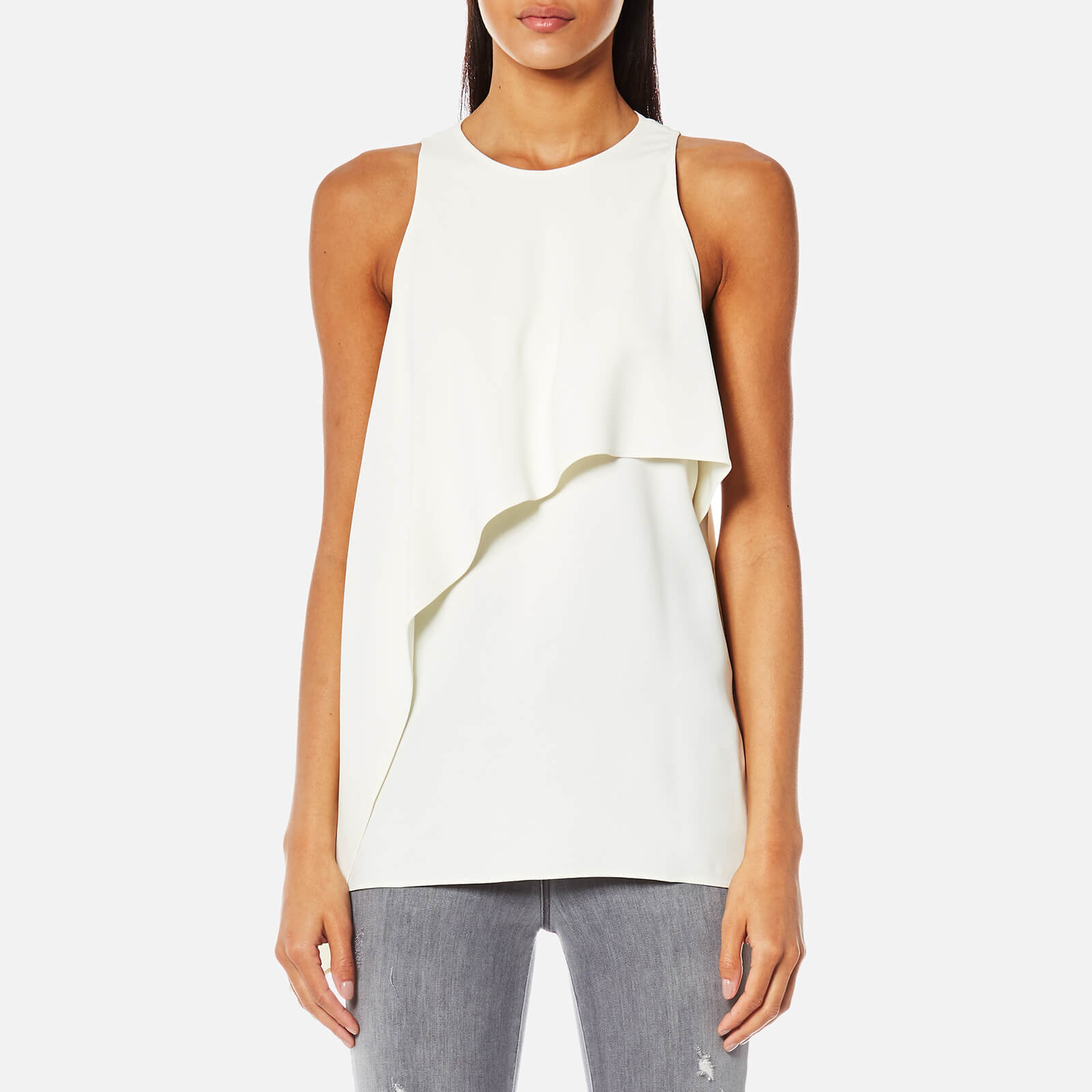 5a805d73fe5 Helmut Lang Women's Side Drape Tank Satin Top - White - Free UK Delivery  over £50