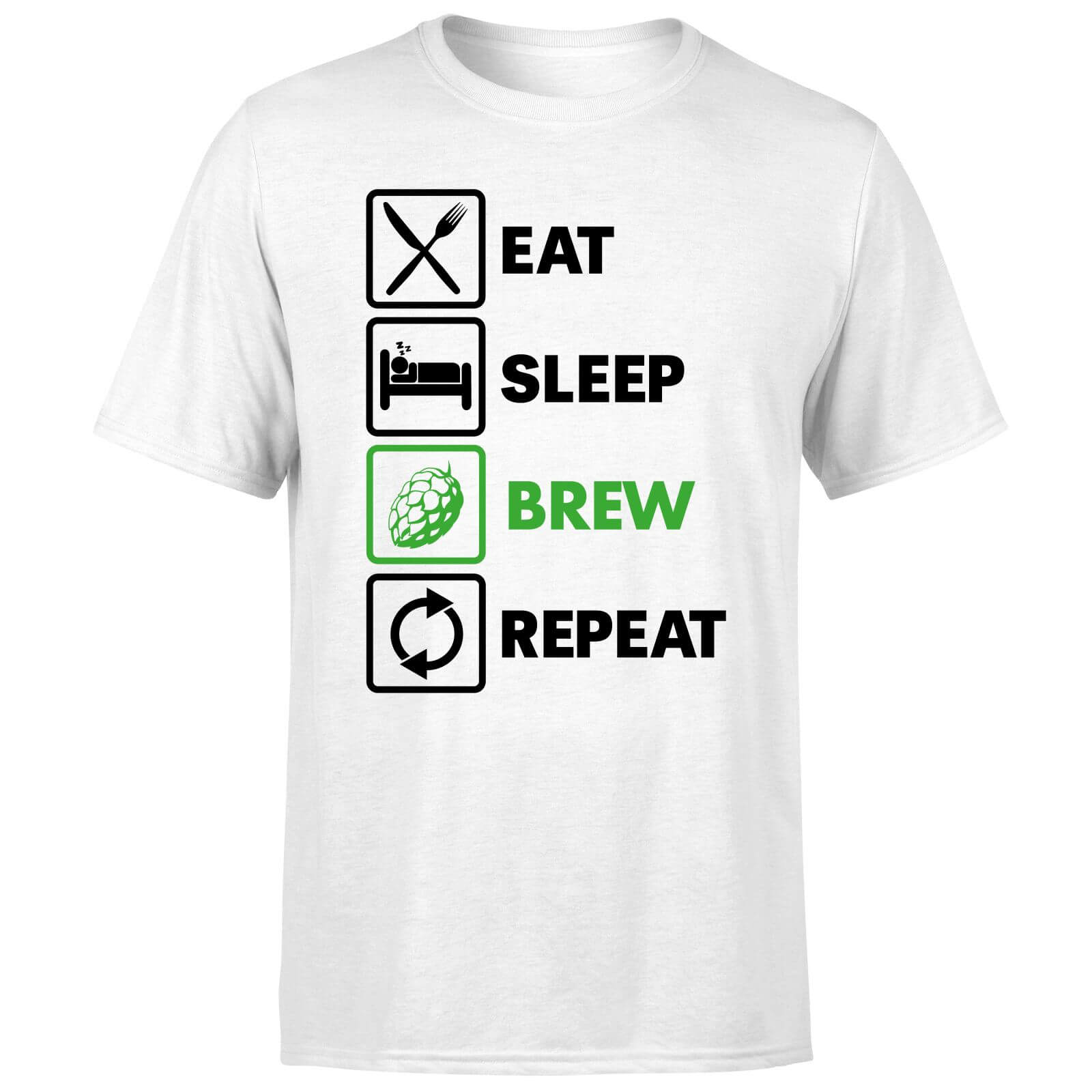T-Shirt Homme Eat Sleep Brew Repeat -Blanc