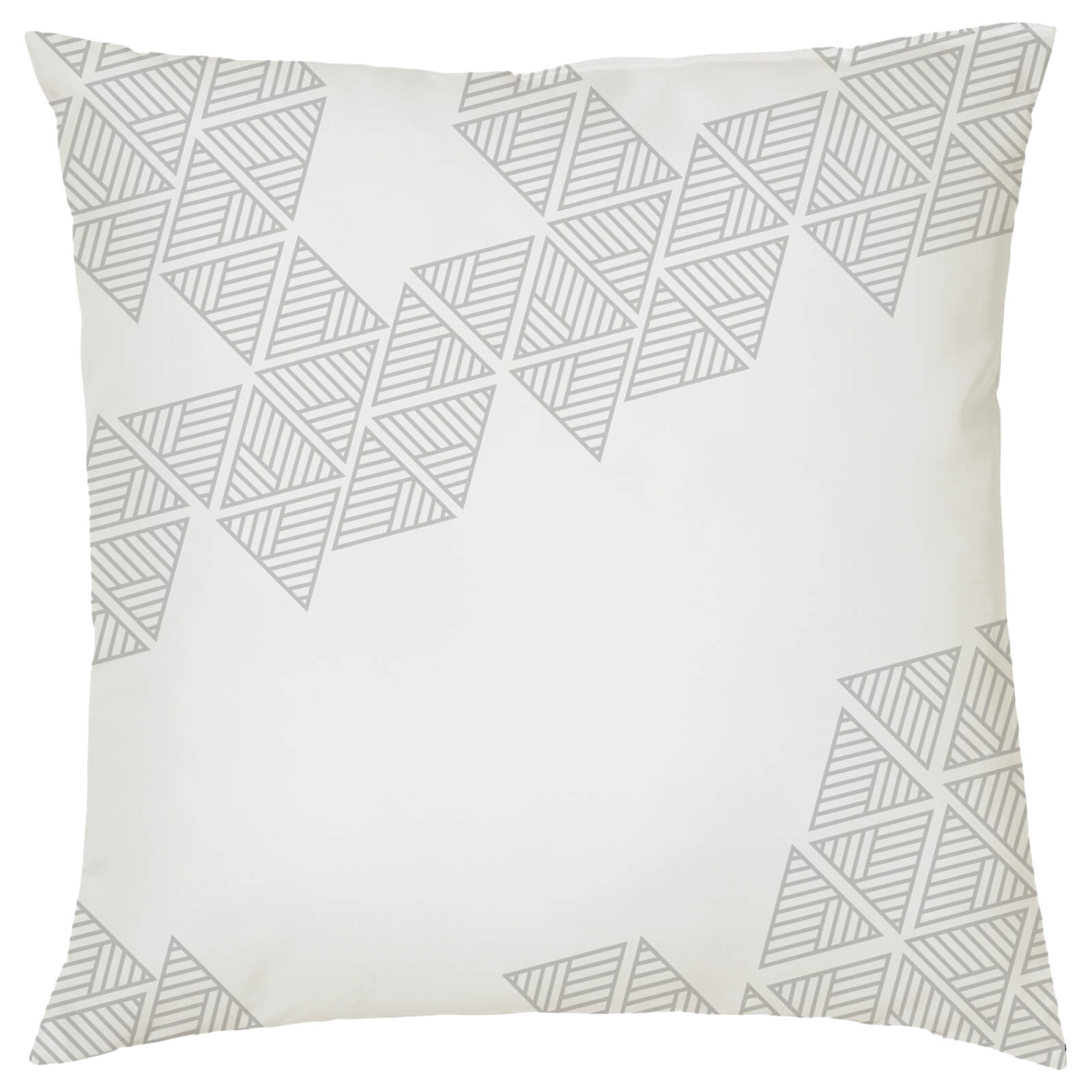 Geometric Triangle Print Cushion - White