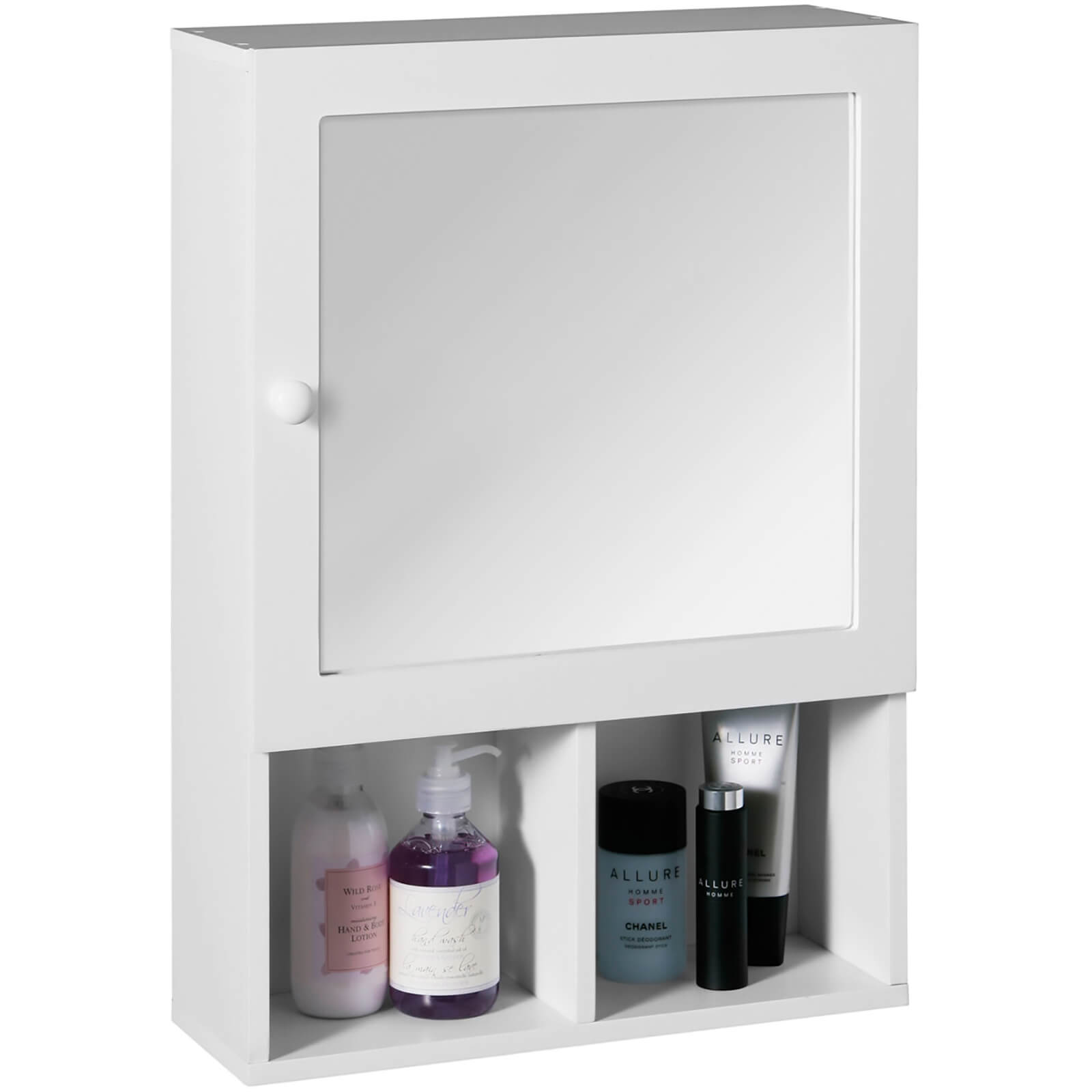 Bathroom Mirrored Cabinet - White Wood