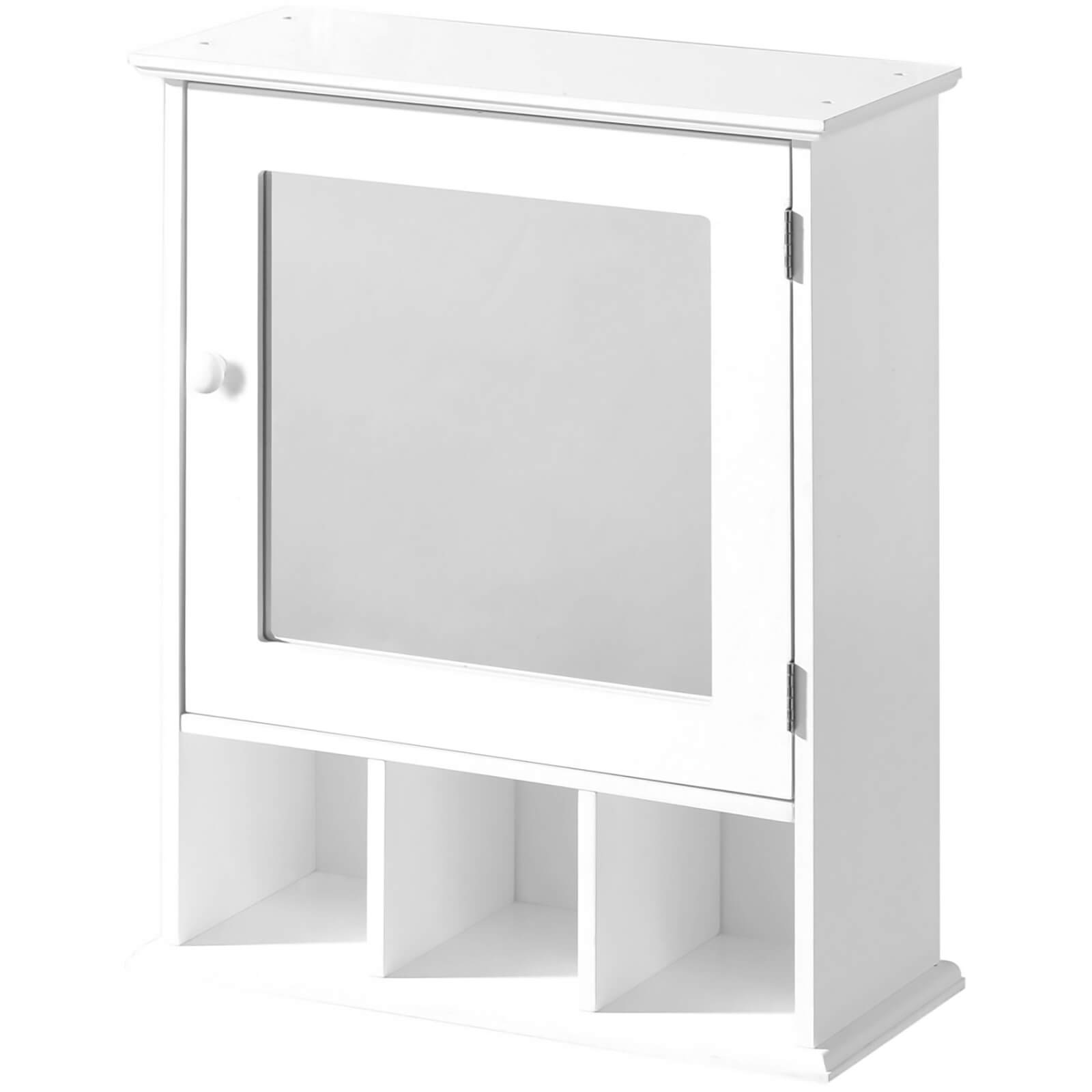 Bathroom Cabinet with Mirror - White Wood