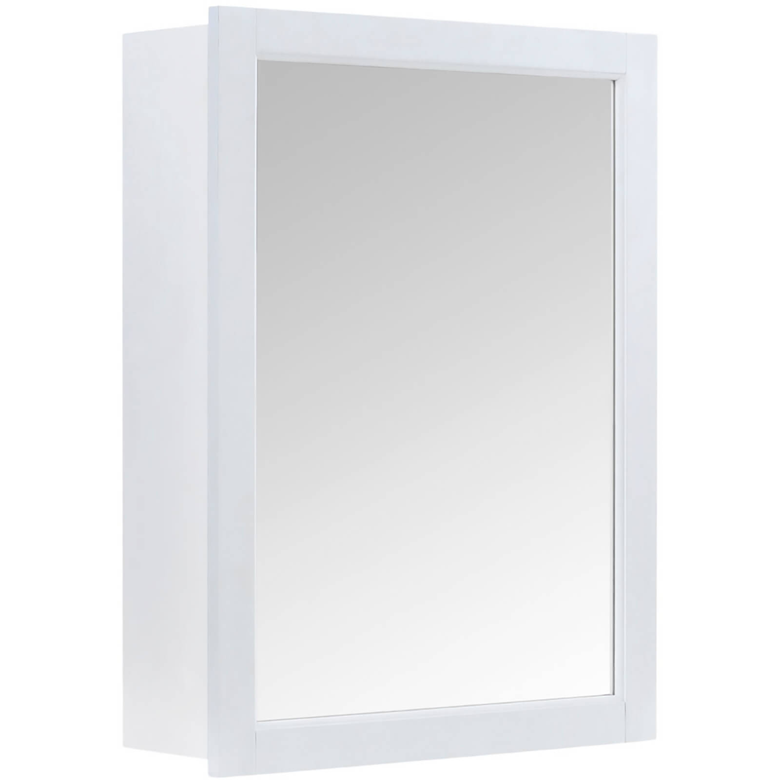 Bathroom Mirrored Wall Cabinet - White Wood