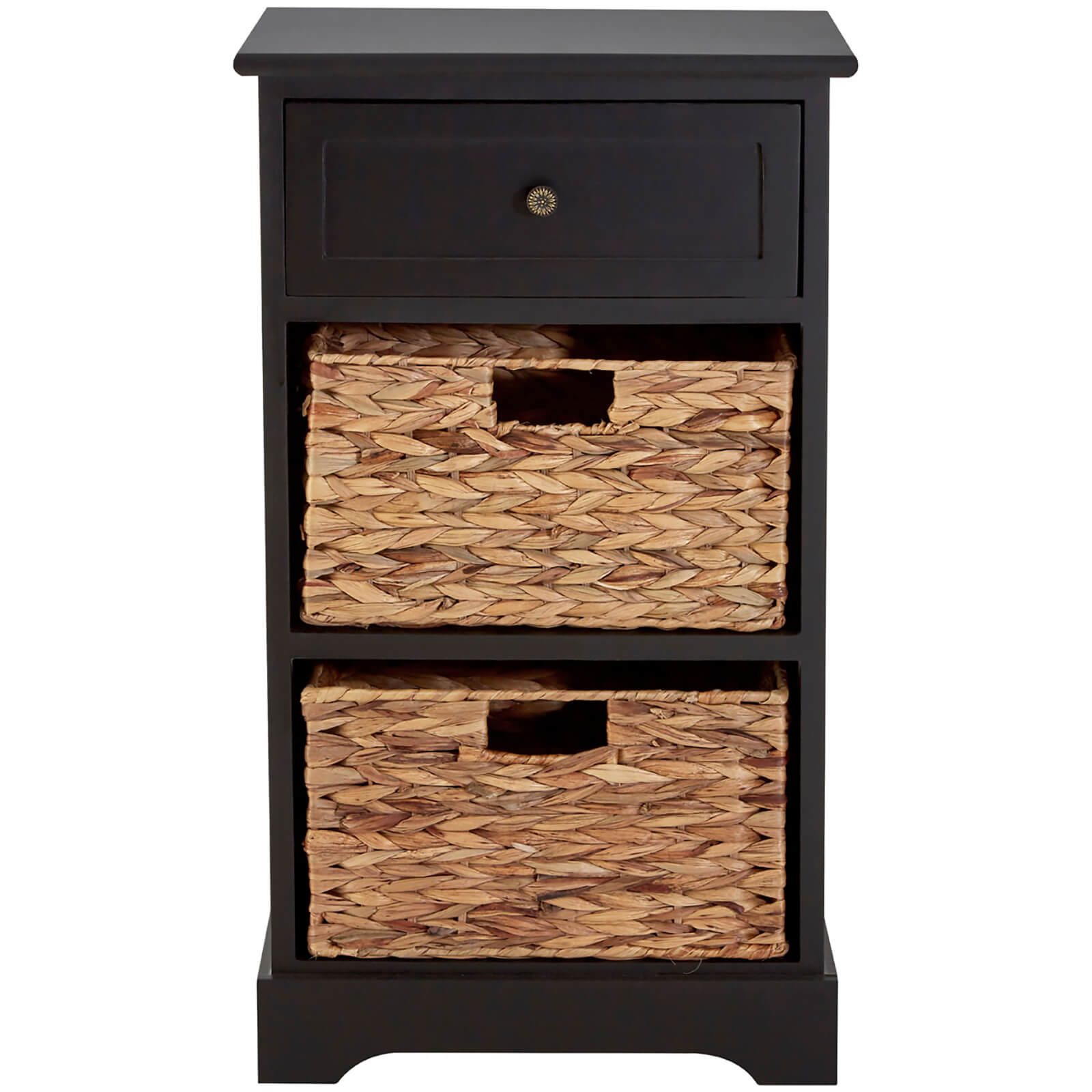 Vermont One Drawer Cabinet with Water Hyacinth Baskets - Black