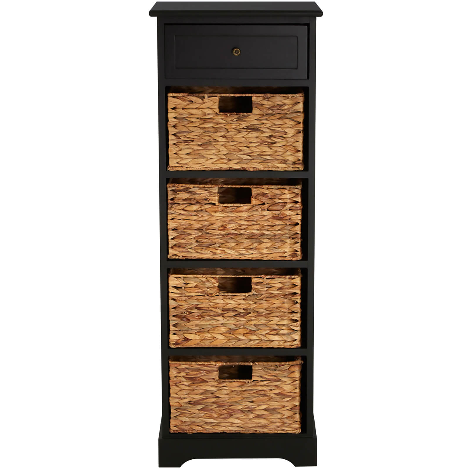 Vermont Tall Cabinet with One Drawer and Water Hyacinth Baskets - Black