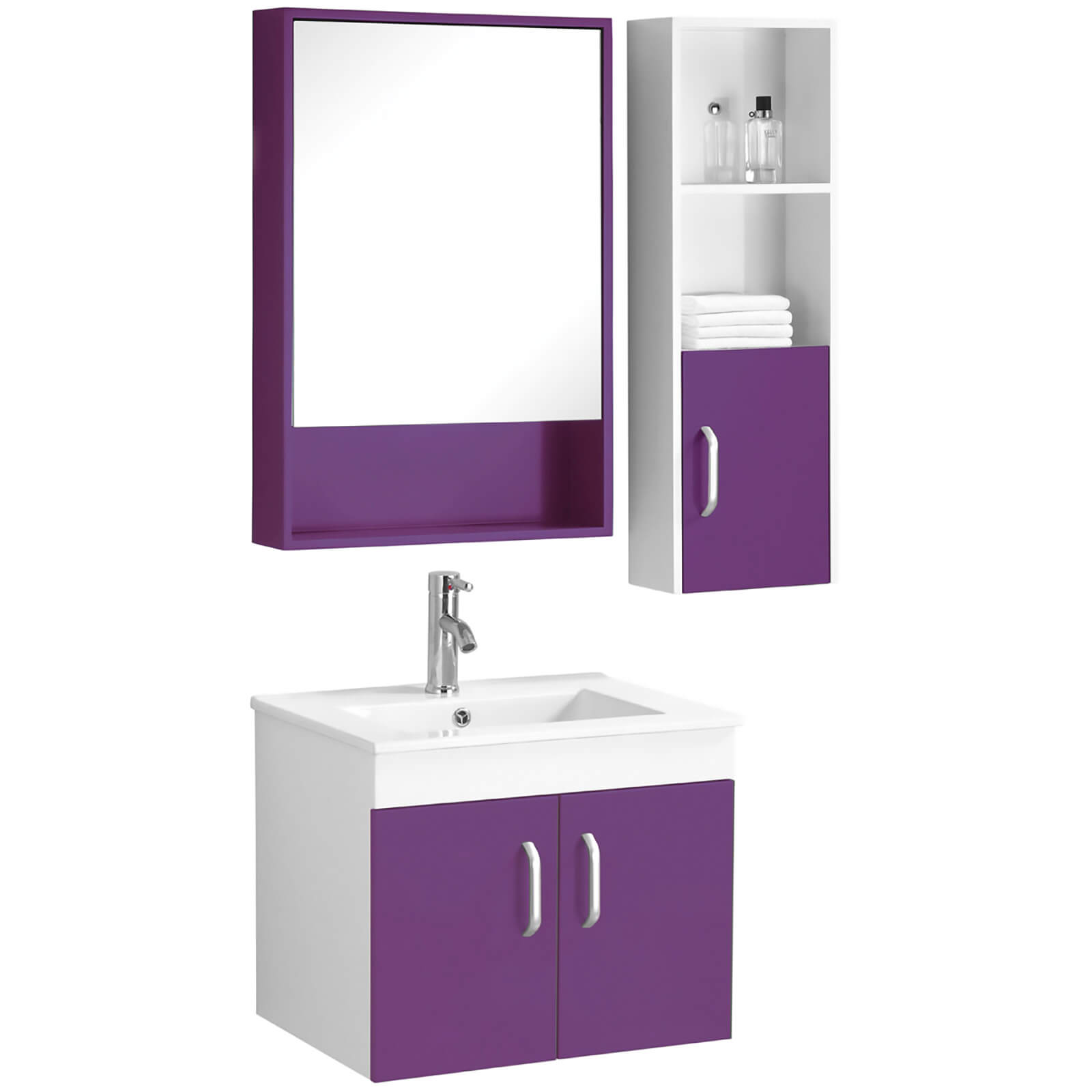 Beaumont Basin, Under Sink Cabinet, Mirrored Cabinet and Side Cabinet Set - Purple/White High Gloss