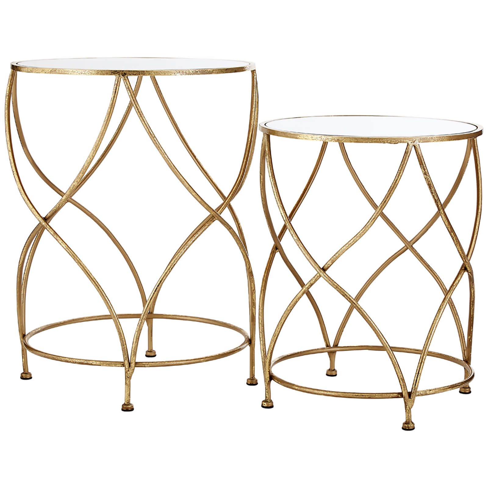 Marcia Mirror Top Side Tables - Gold (Set of 2)