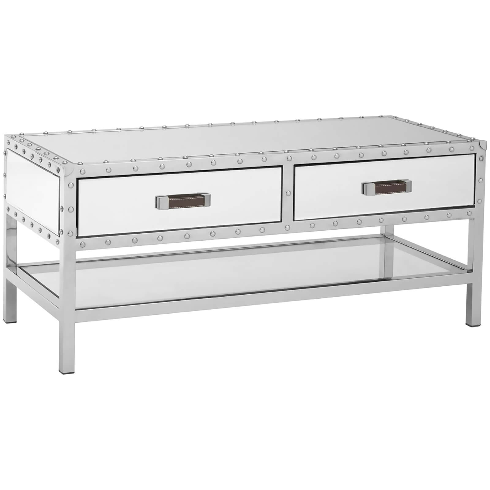 Rivet Two Drawer Coffee Table - Stainless Steel