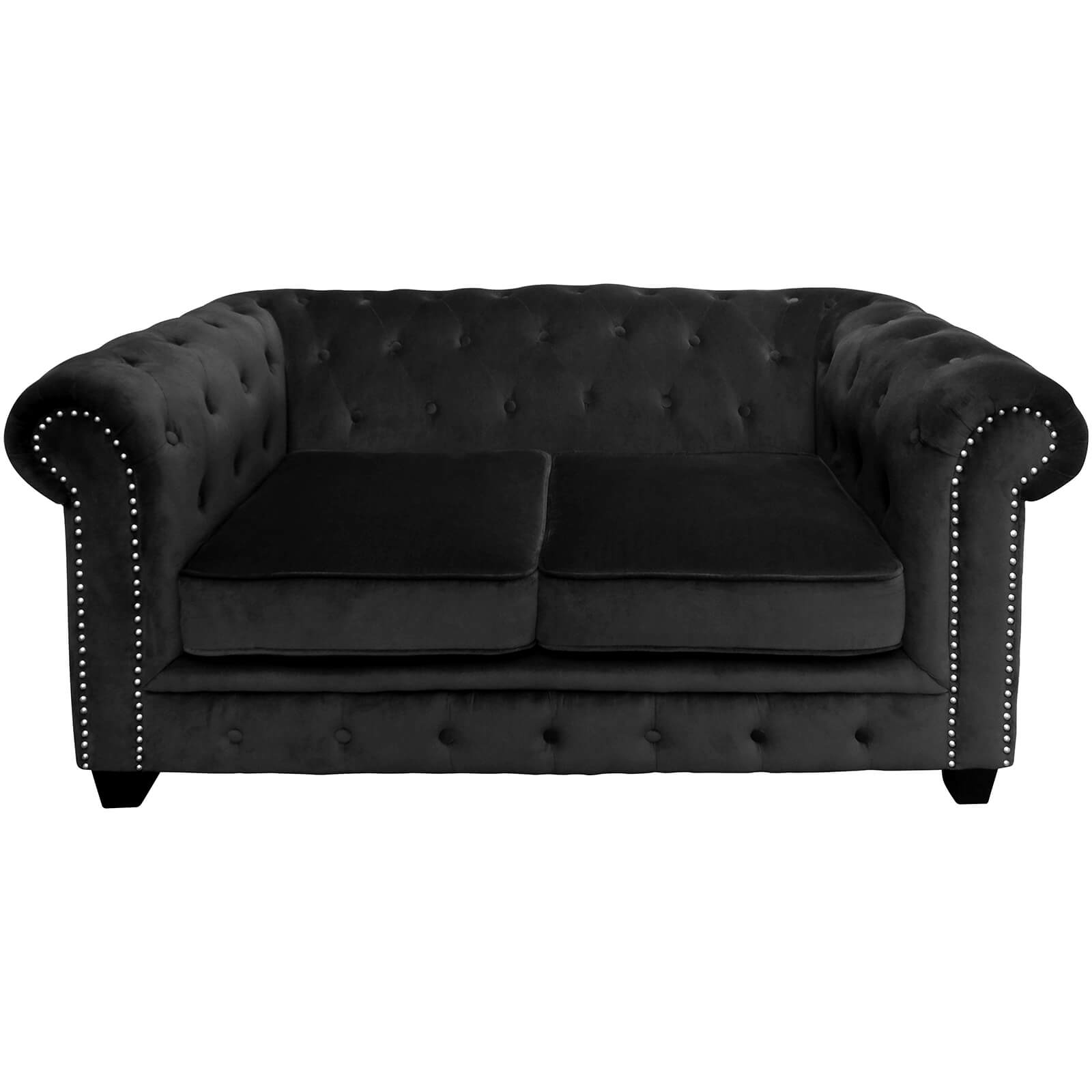 Regents Park Chesterfield Two Seater Sofa - Black Cotton Velvet