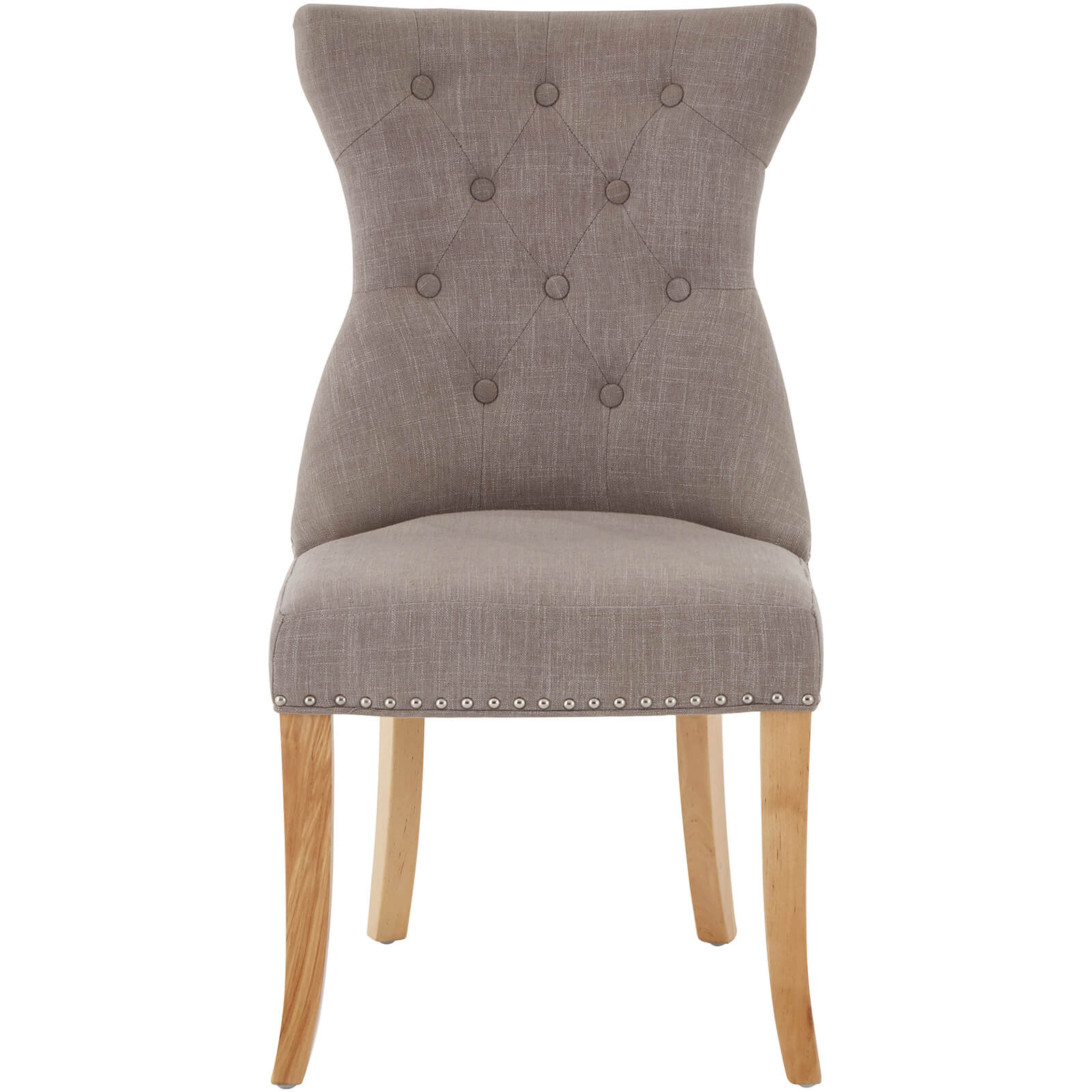 Regents Park Dining Chair with Studs - Mink Linen