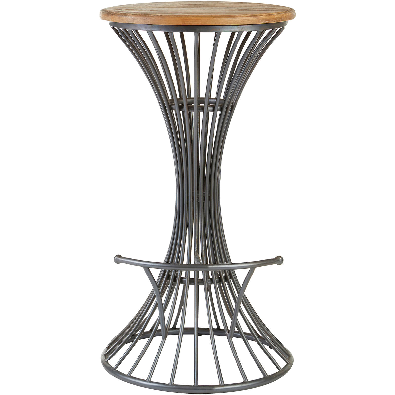 New Foundry Circular Bar Stool - Elm Wood/Metal