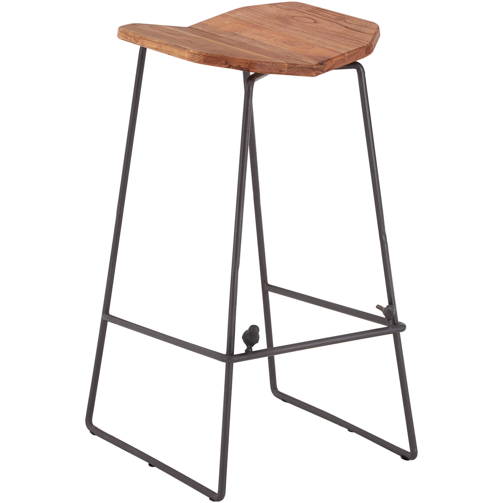 New Foundry Square Bar Stool - Elm Wood/Metal