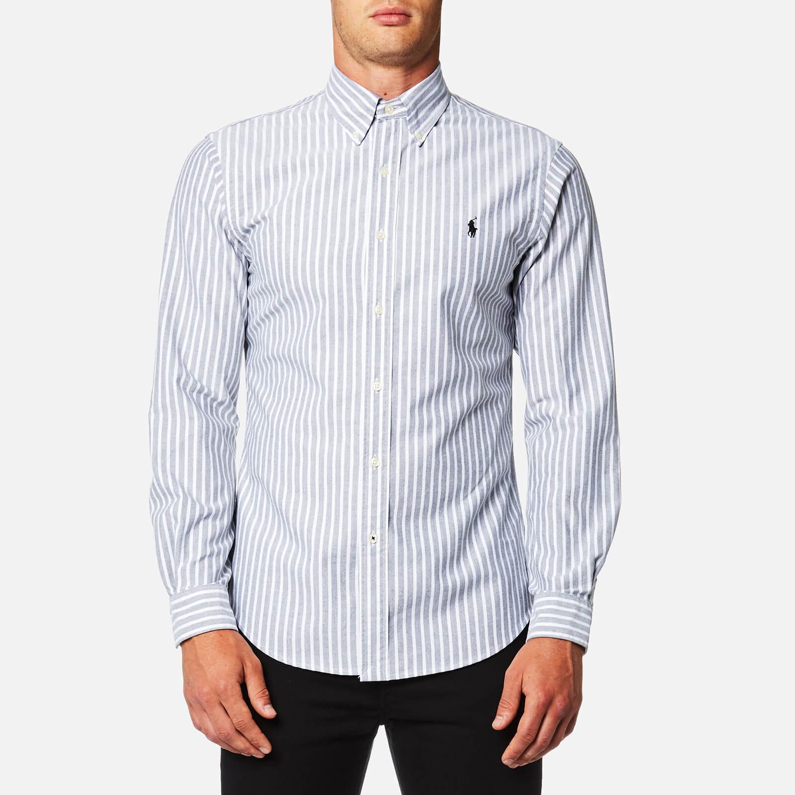 e851f3e8 Polo Ralph Lauren Men's Oxford Stripe Slim Fit Shirt - Grey/White - Free UK  Delivery over £50