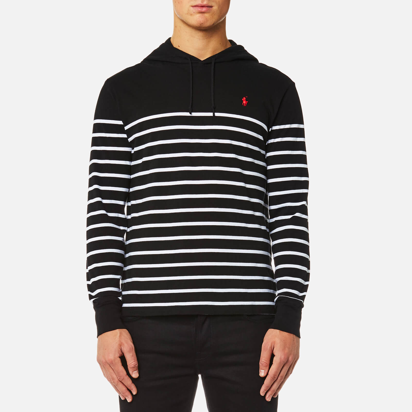 180ee9f3 Polo Ralph Lauren Men's Hooded T-Shirt Stripe Hoody - Black/White - Free UK  Delivery over £50