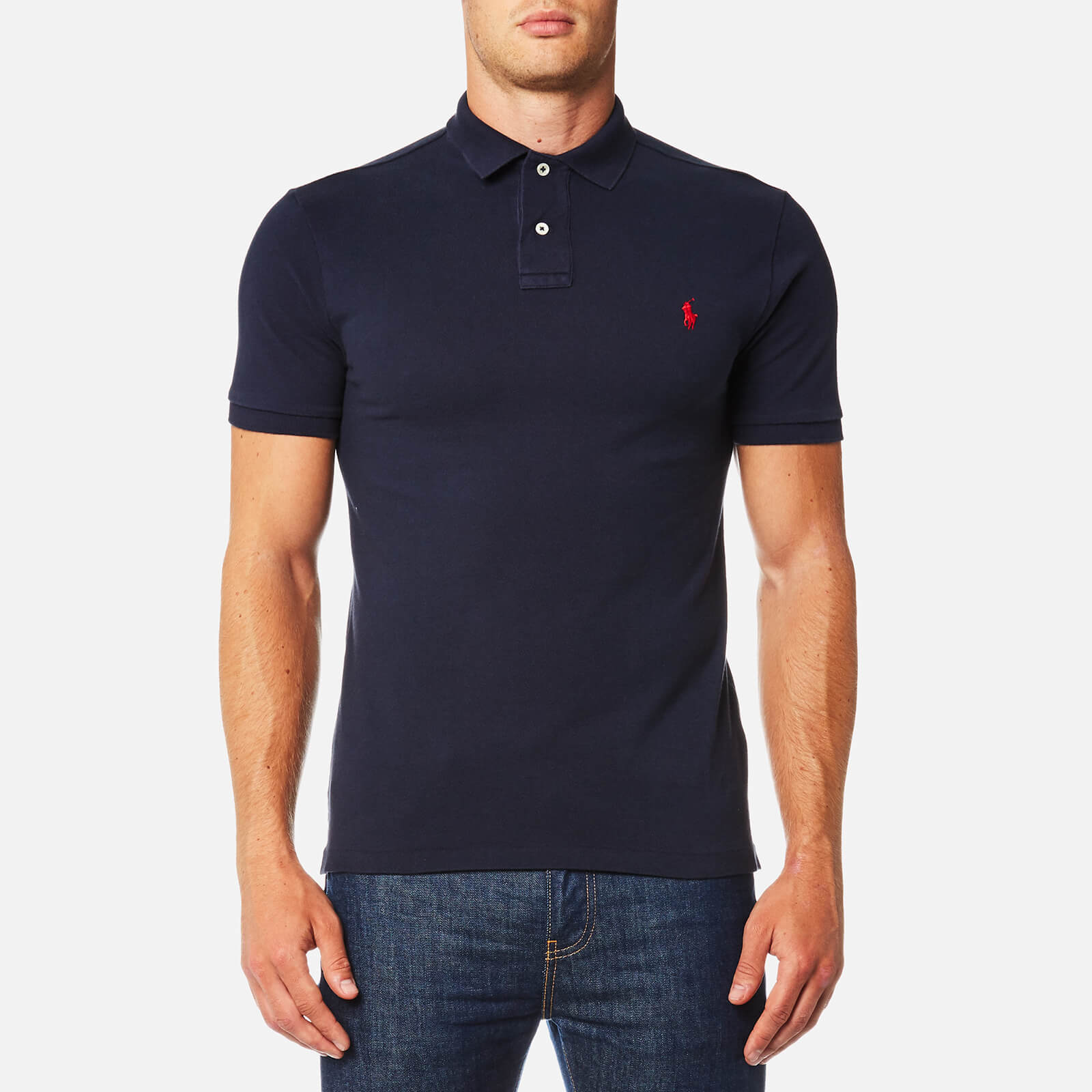 12ffe4bd1 Polo Ralph Lauren Men's Slim Fit Mesh Polo Shirt - Navy - Free UK Delivery  over £50