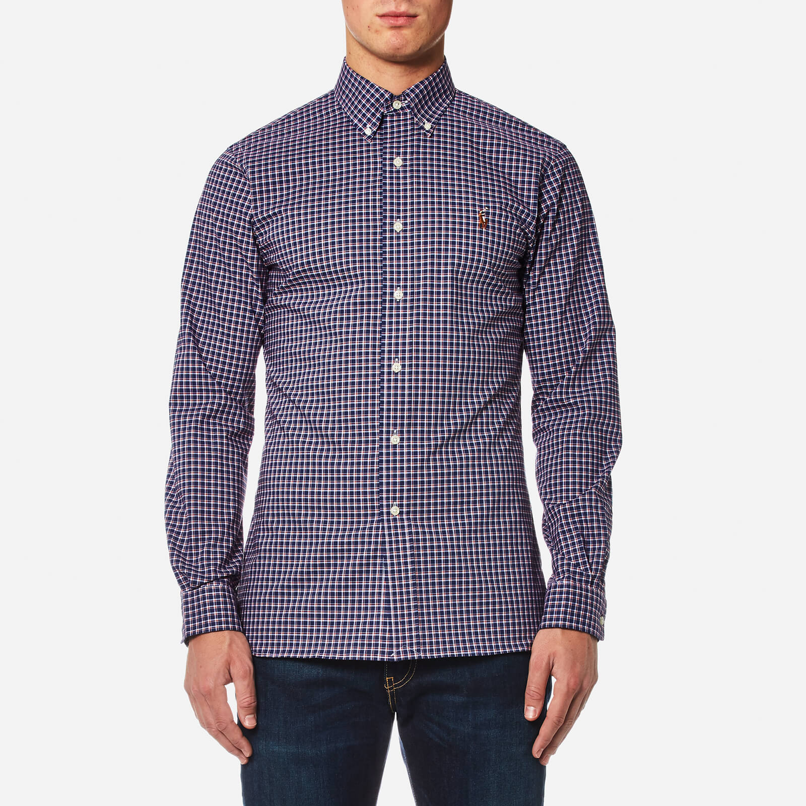 92221417 Polo Ralph Lauren Men's Slim Fit Poplin Check Shirt - Navy/Red - Free UK  Delivery over £50