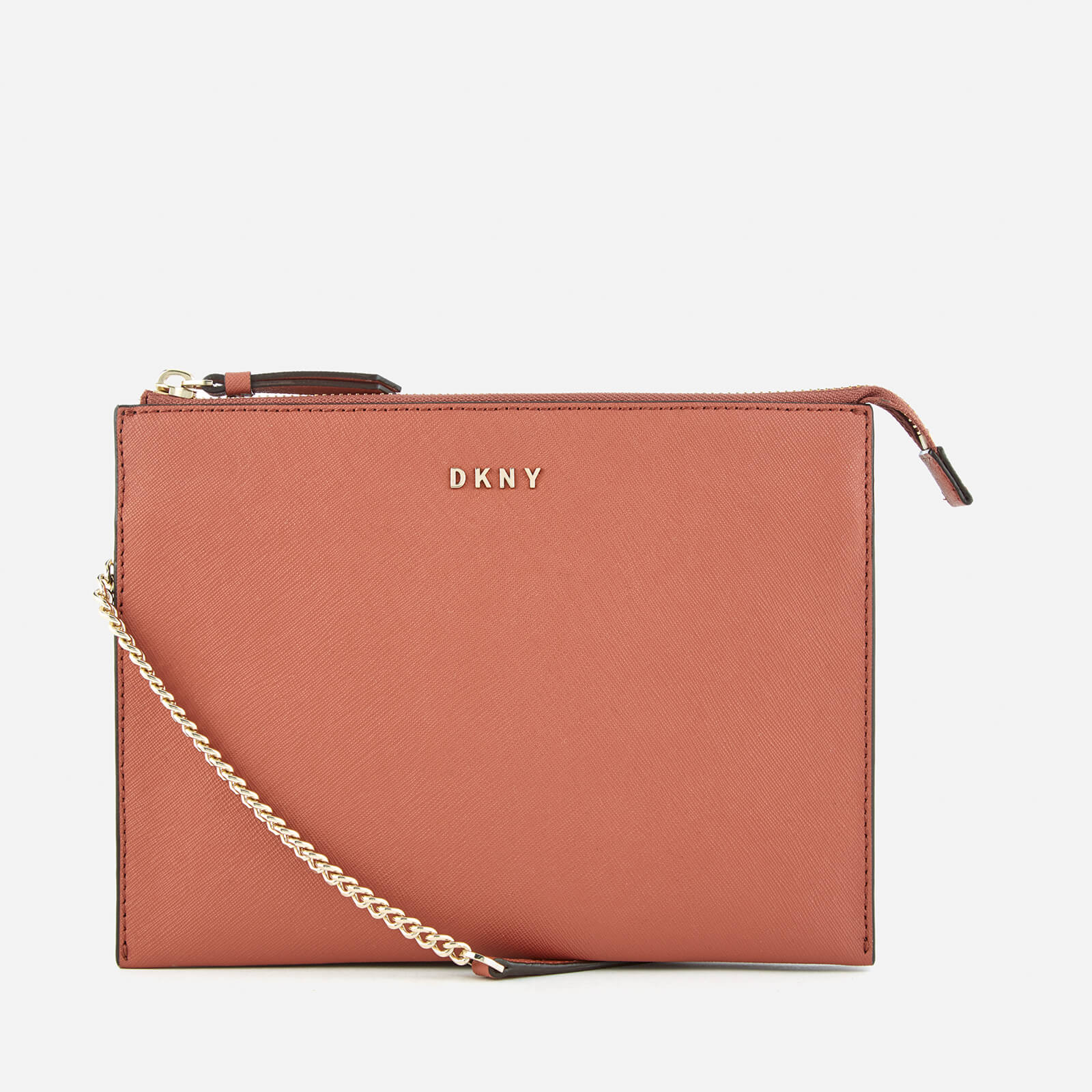 80b6f6125ad DKNY Women s Bryant Park Flat Top Zip Cross Body Bag - Terracotta - Free UK  Delivery over £50
