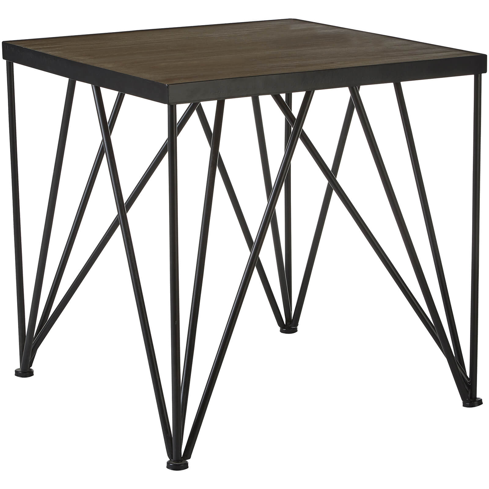 Fifty Five South New Foundry Square Side Table - Fir Wood/Metal