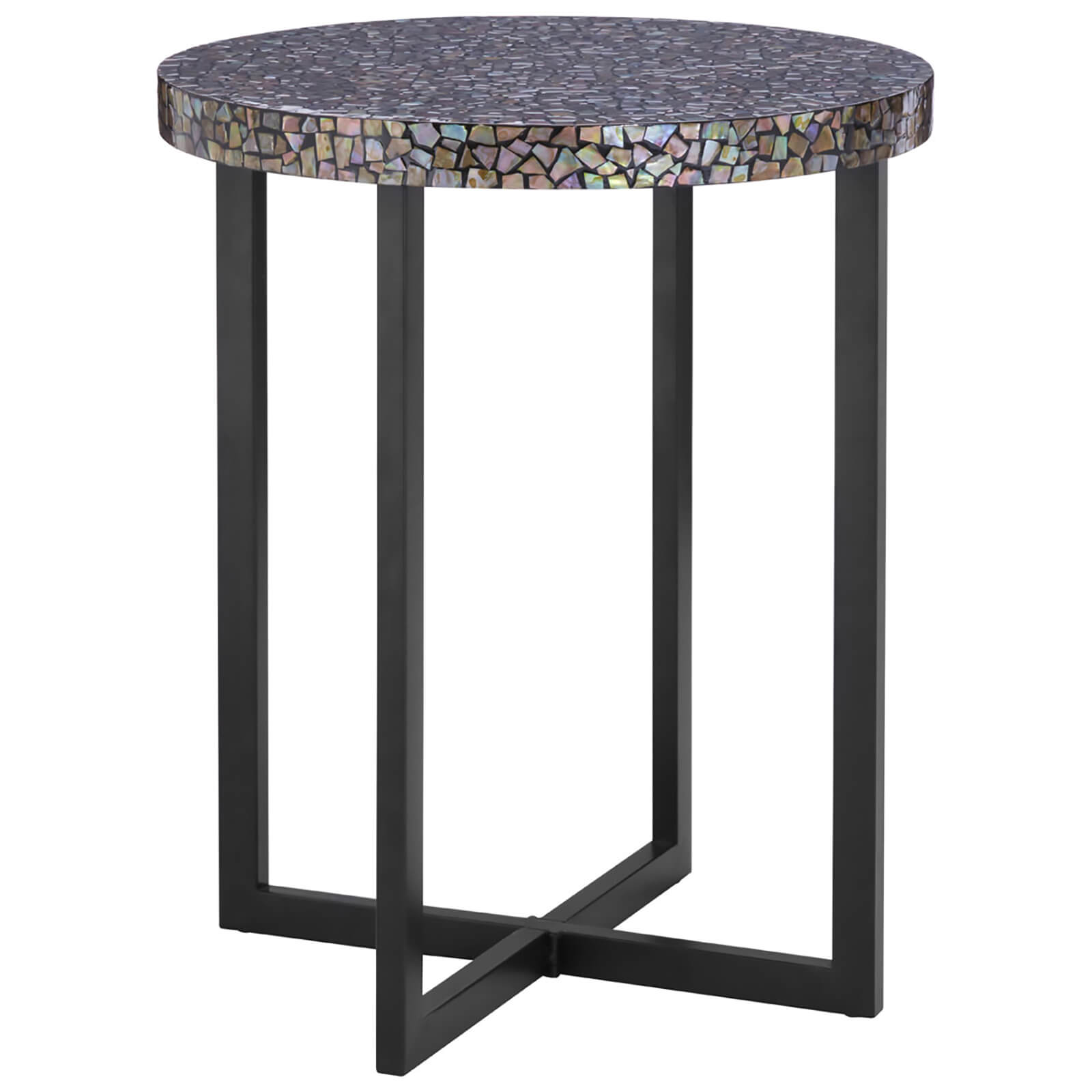 Fifty Five South Fusion Round Side Table - Crackle Mosaic