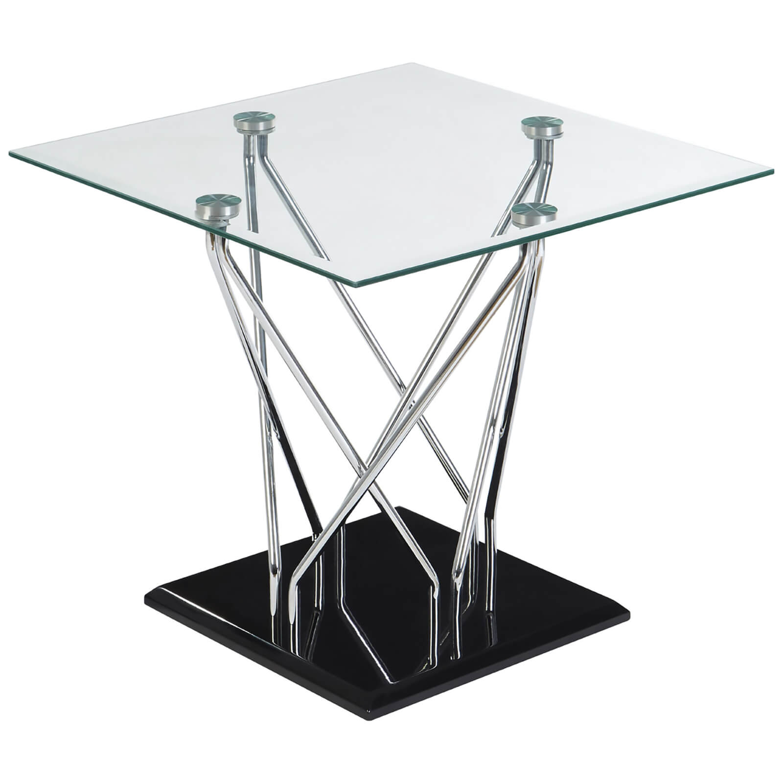 Fifty Five South Halo Tempered Glass Side Table - Chrome/Black