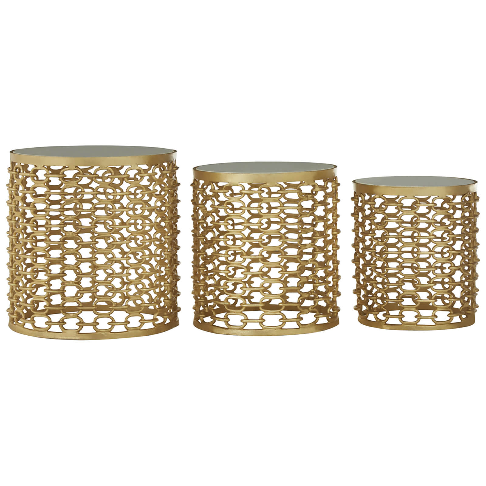 Fifty Five South Templar Side Tables (Set of 3) - Gold/Stone