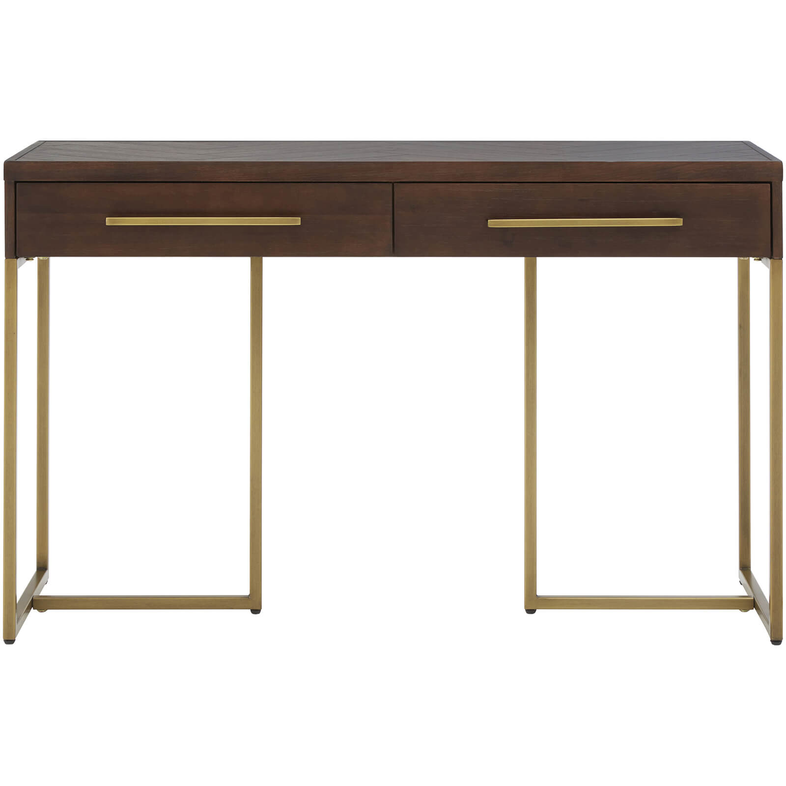 Fifty Five South Brando Two Drawer Console Table - Acacia Veneer/Antique Brass