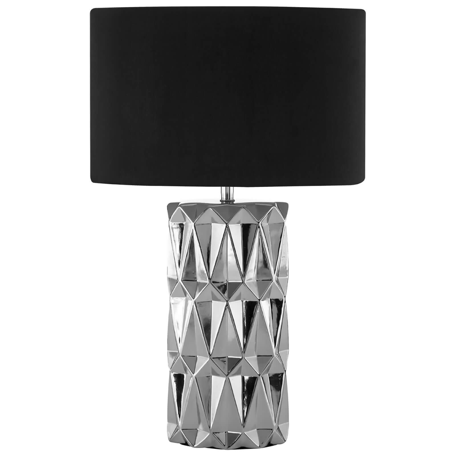 Fifty Five South Jaxon Table Lamp - Silver Ceramic/Black