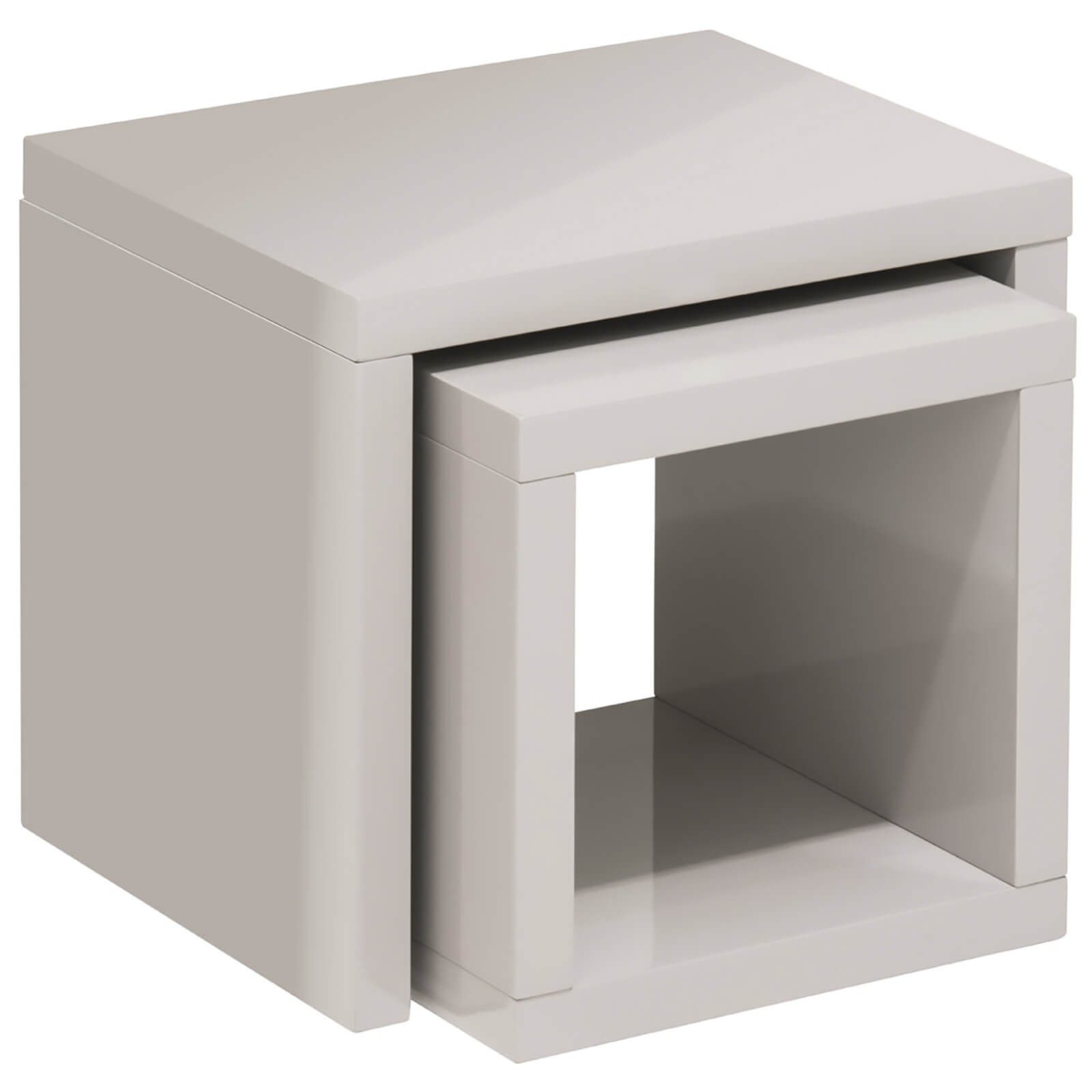 Fifty Five South Madrid Side Cube Tables - Light Grey High Gloss (Set of 2)