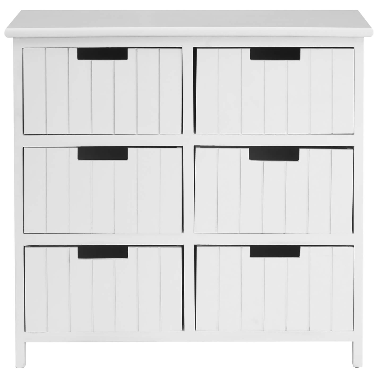 Fifty Five South New England Six Drawer Chest - White