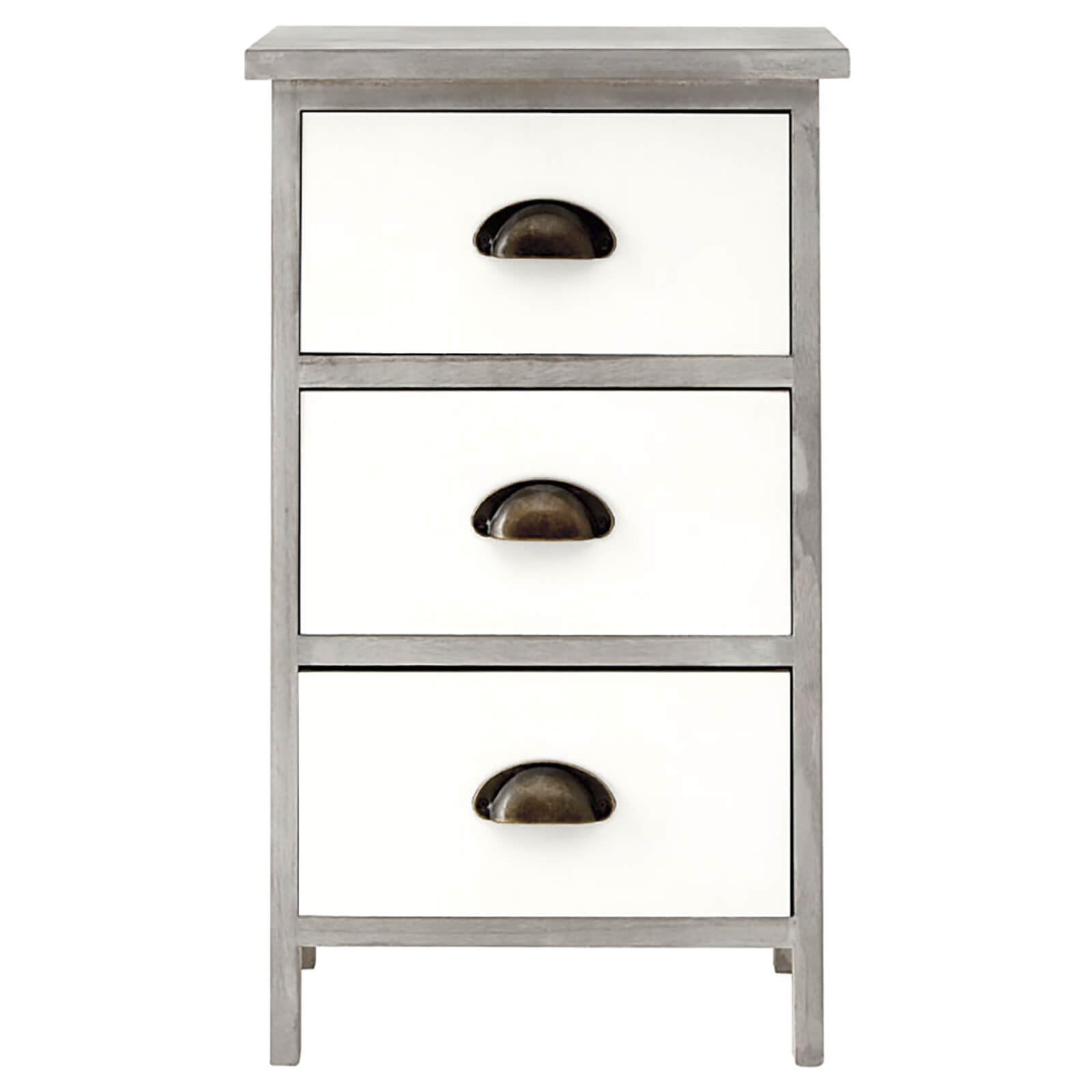 Fifty Five South New Urban Three Drawer Loft Chest - White/Grey Wash