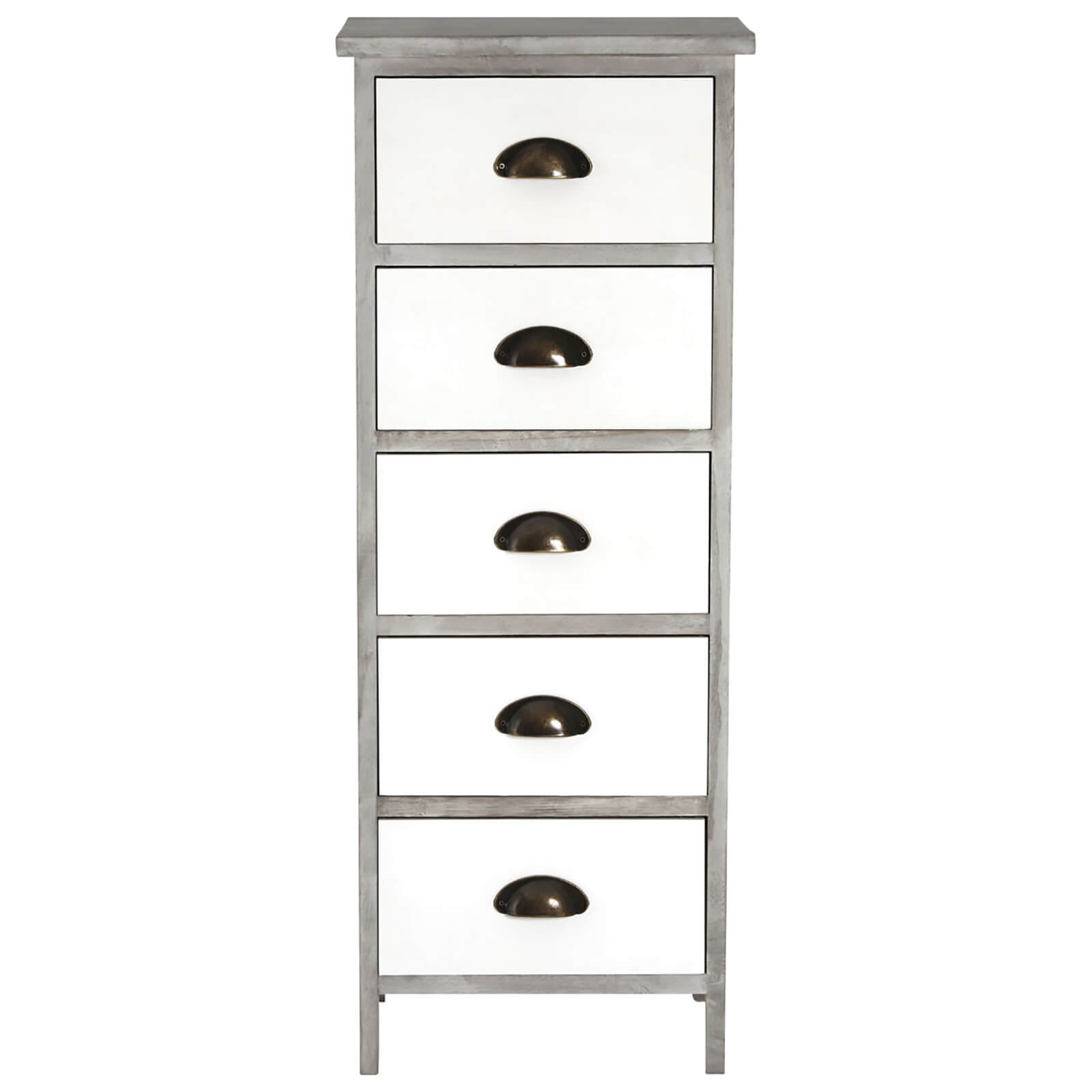Fifty Five South New Urban Five Drawer Loft Chest - White/Grey Wash