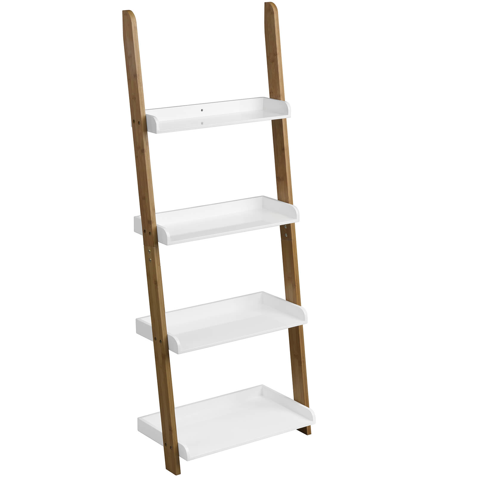 Fifty Five South Nostra Bamboo Shelf Ladder Unit - White High Gloss