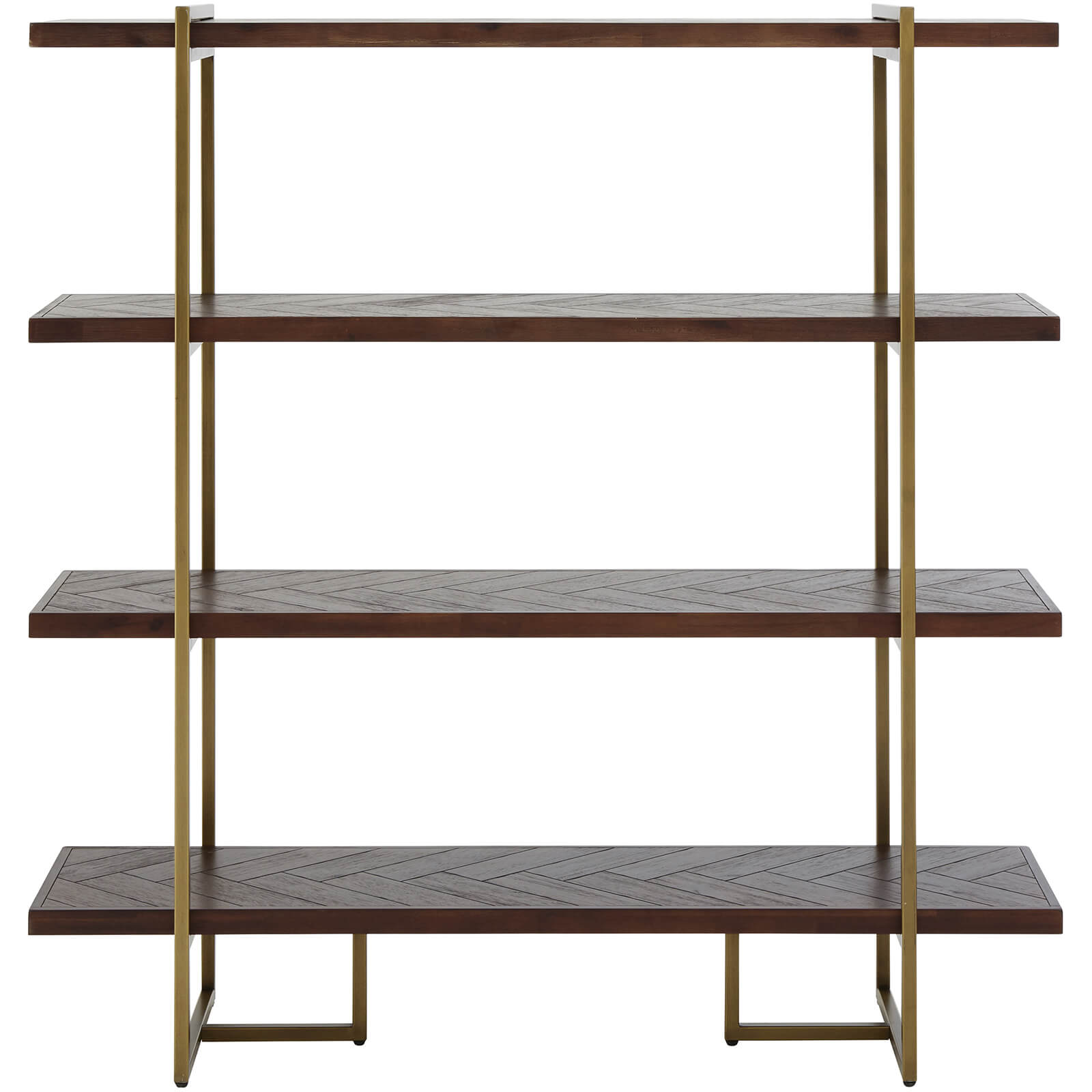 Fifty Five South Brando Bookcase - Acacia Veneer/Antique Brass