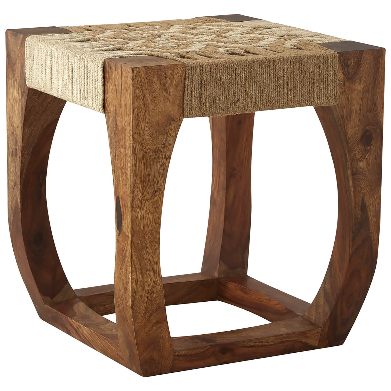 Fifty Five South Boho Stool - Sheesham Wood/Jute