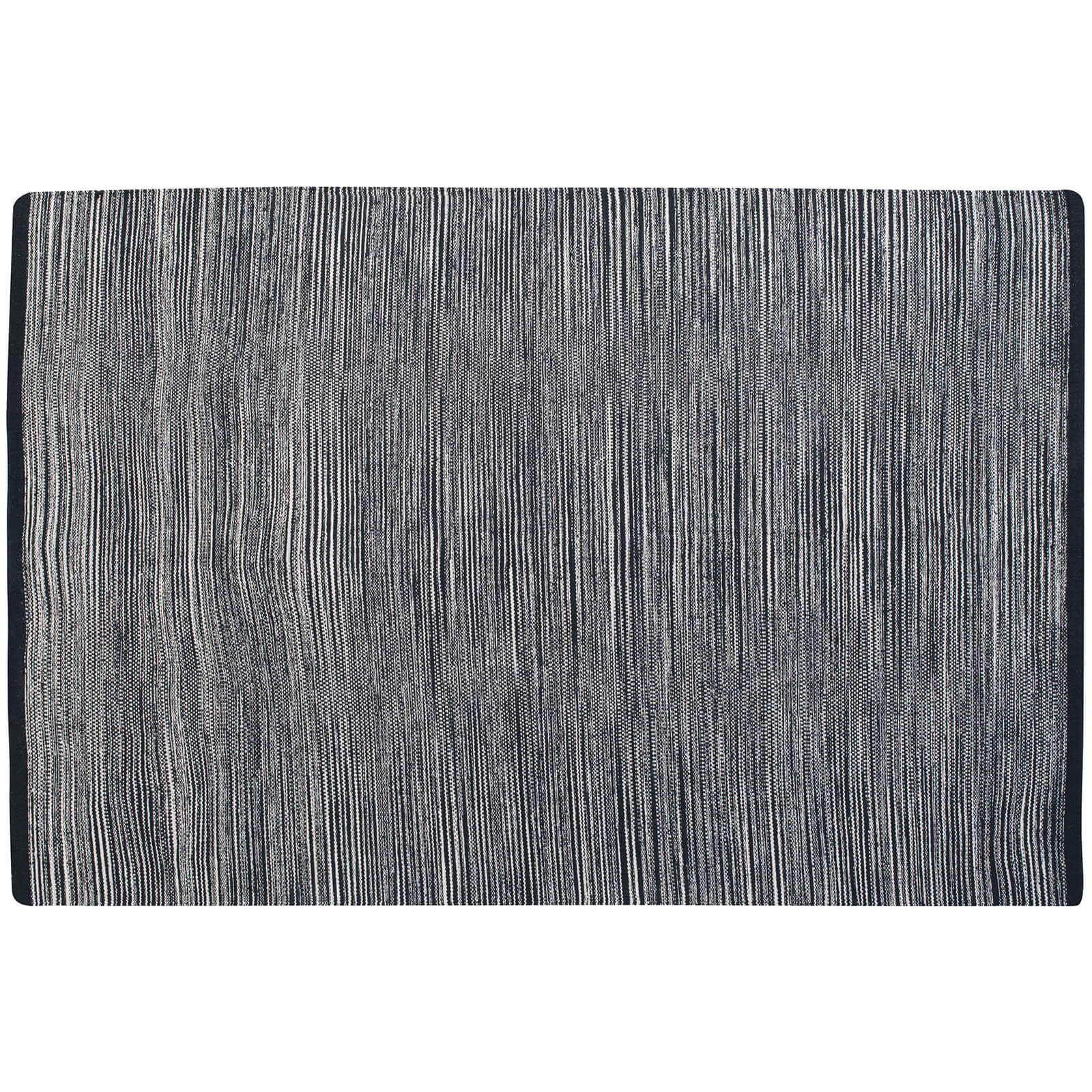 Fifty Five South Bosie Small Stripe 100% Cotton Woven Rug - Black/Multi Stripe