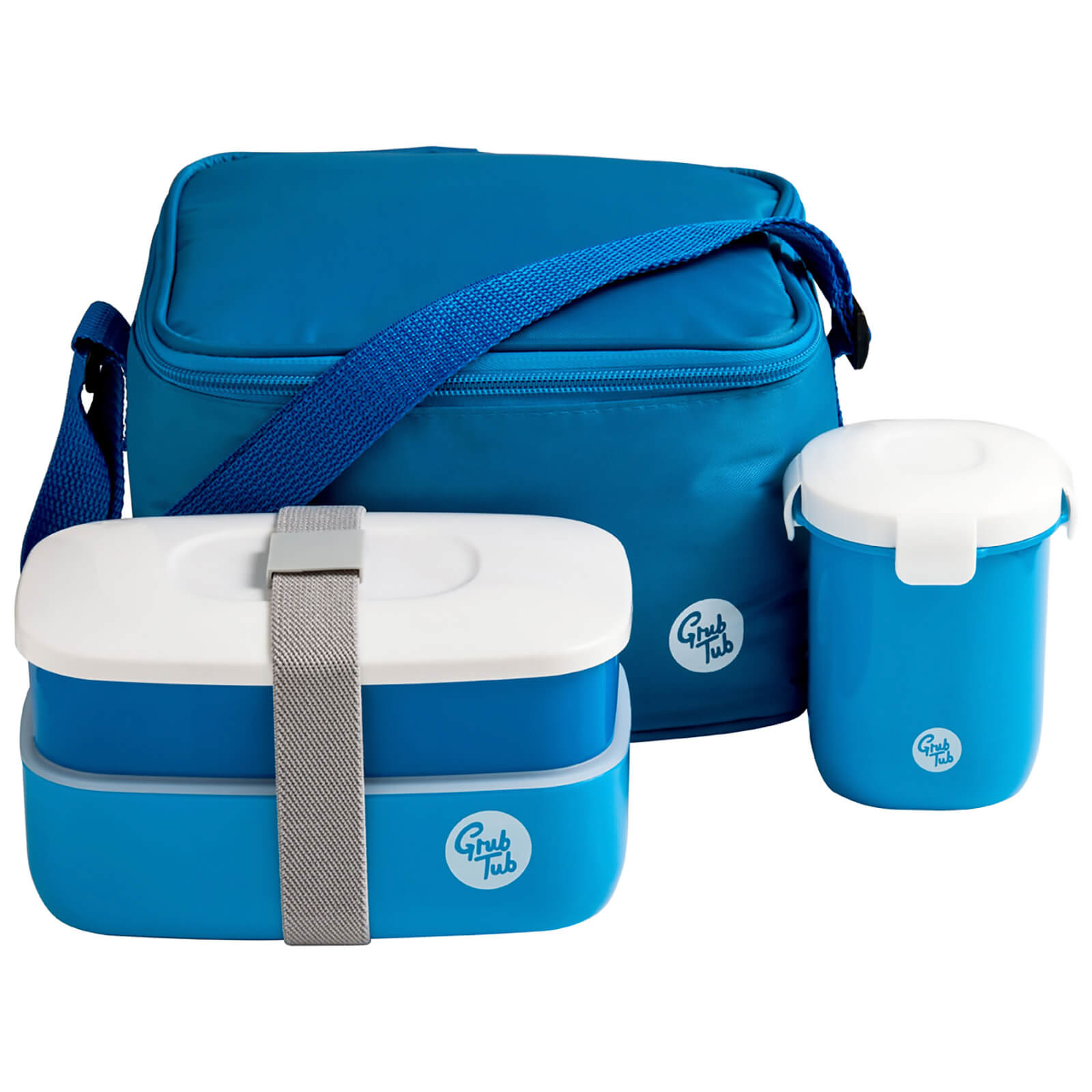 Grub Tub Lunch Box with Cool Bag and Sealing Cup - Blue