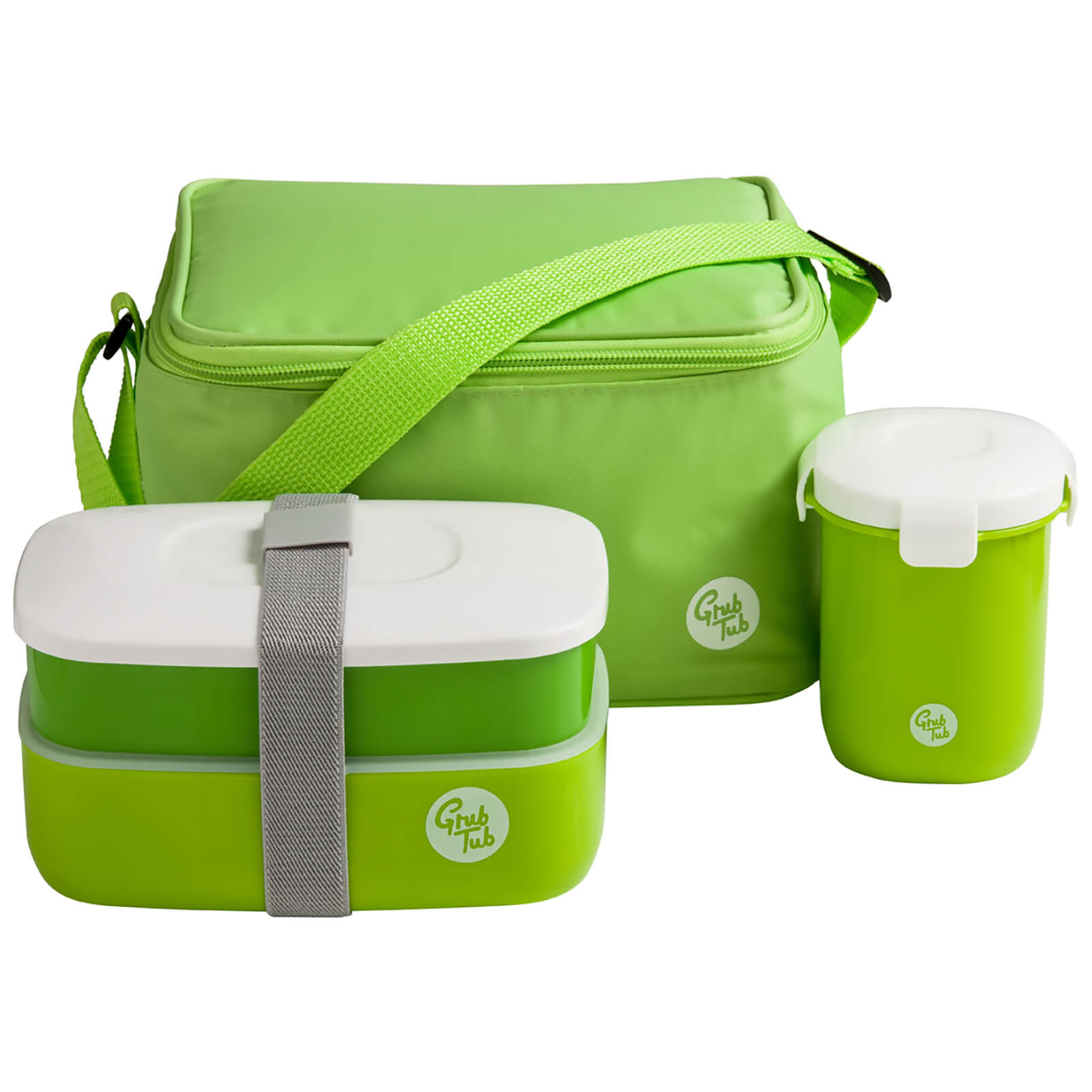 Grub Tub Lunch Box with Cool Bag and Sealing Cup - Green