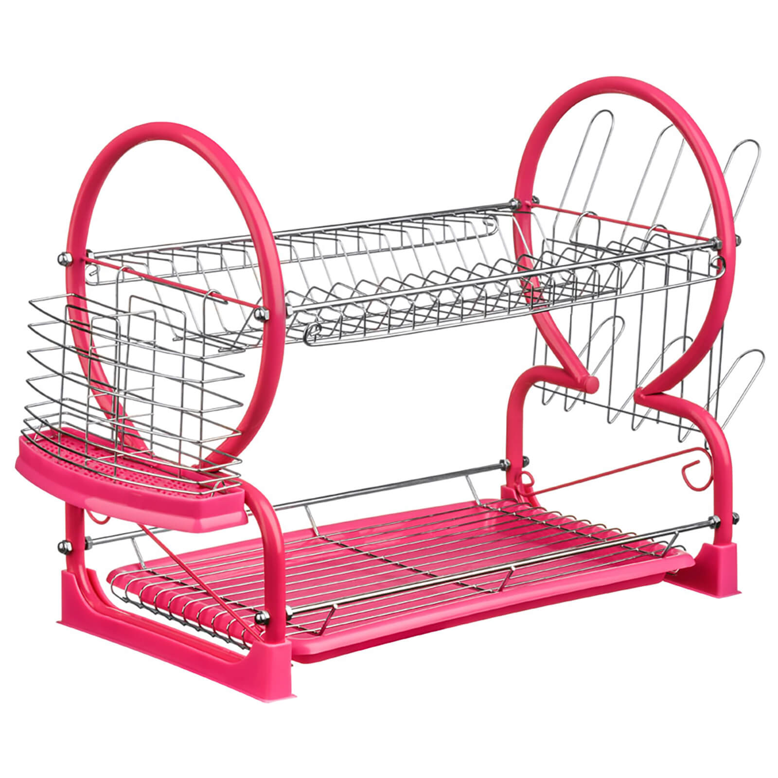 2 Tier Dish Drainer - Chrome/Hot Pink
