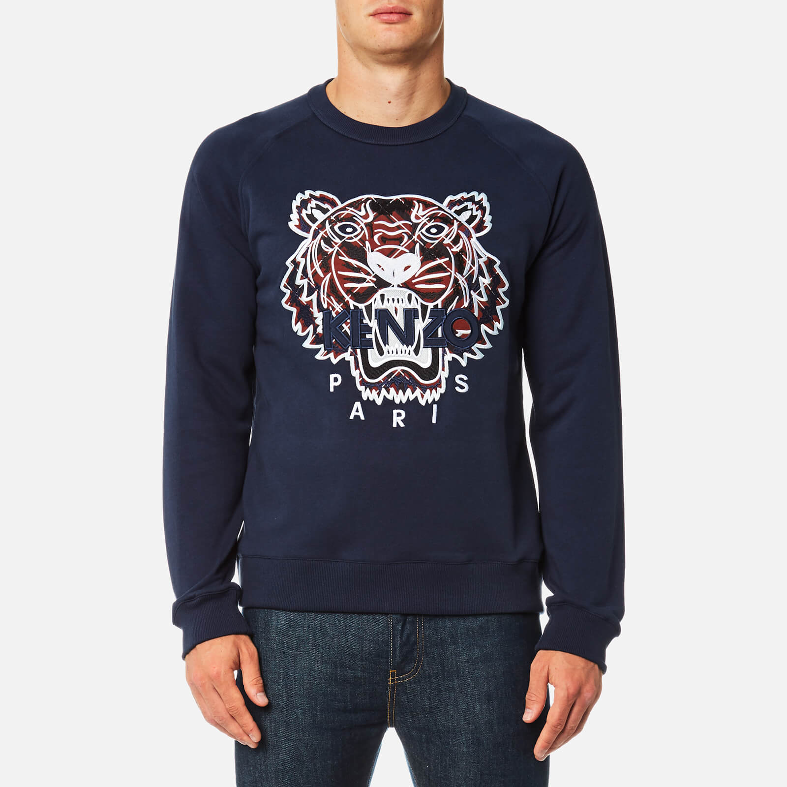 0f224704a KENZO Men's Check Tiger Logo Sweatshirt - Ink - Free UK Delivery over £50