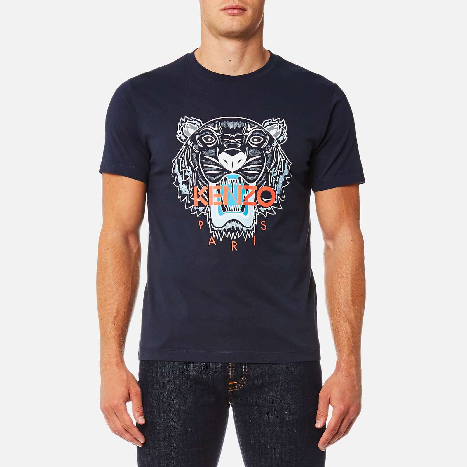 6e3f4a52 KENZO Men's Tiger Logo Icon T-Shirt - Ink - Free UK Delivery over £50