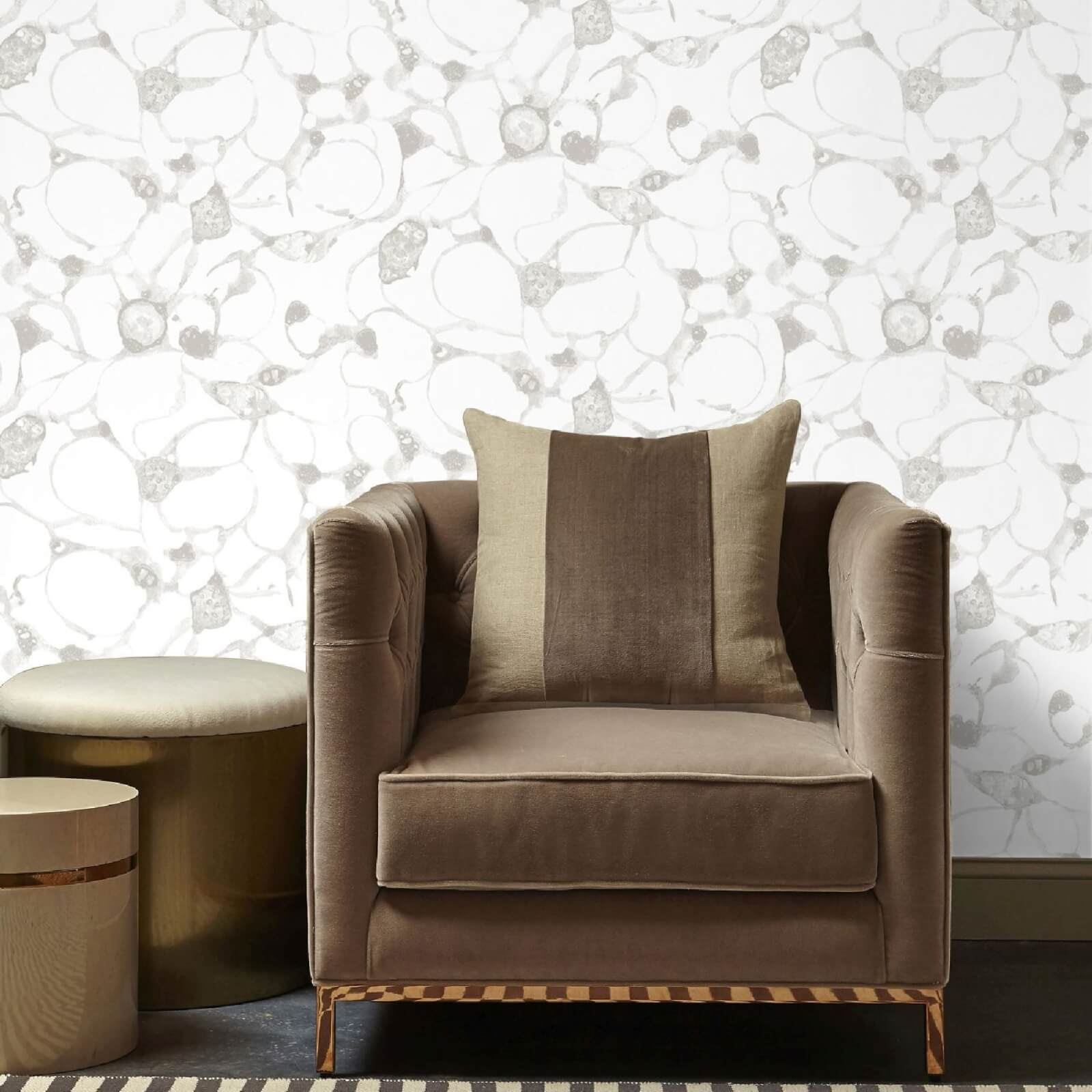 Kelly Hoppen Splash Metallic Wallpaper - Silver