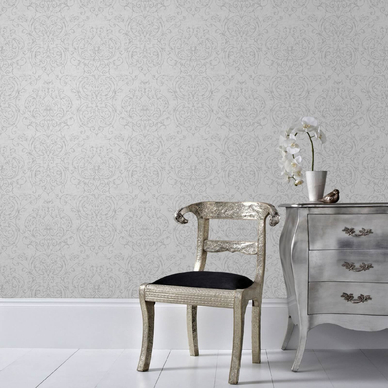 Superfresco Empress Glitter Damask Wallpaper - Grey