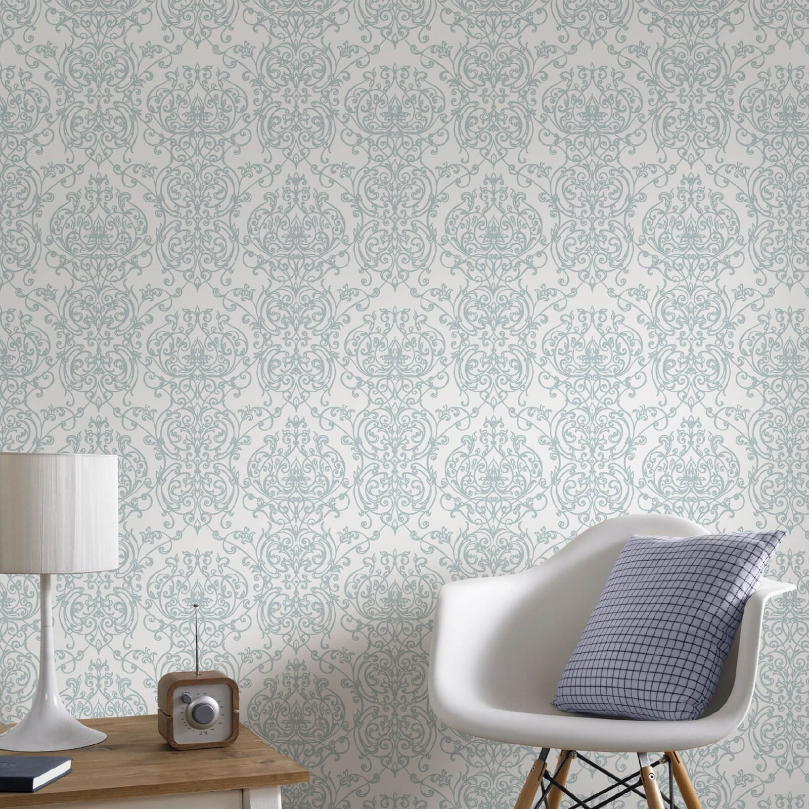 Superfresco Empress Glitter Damask Wallpaper - Duck Egg/White